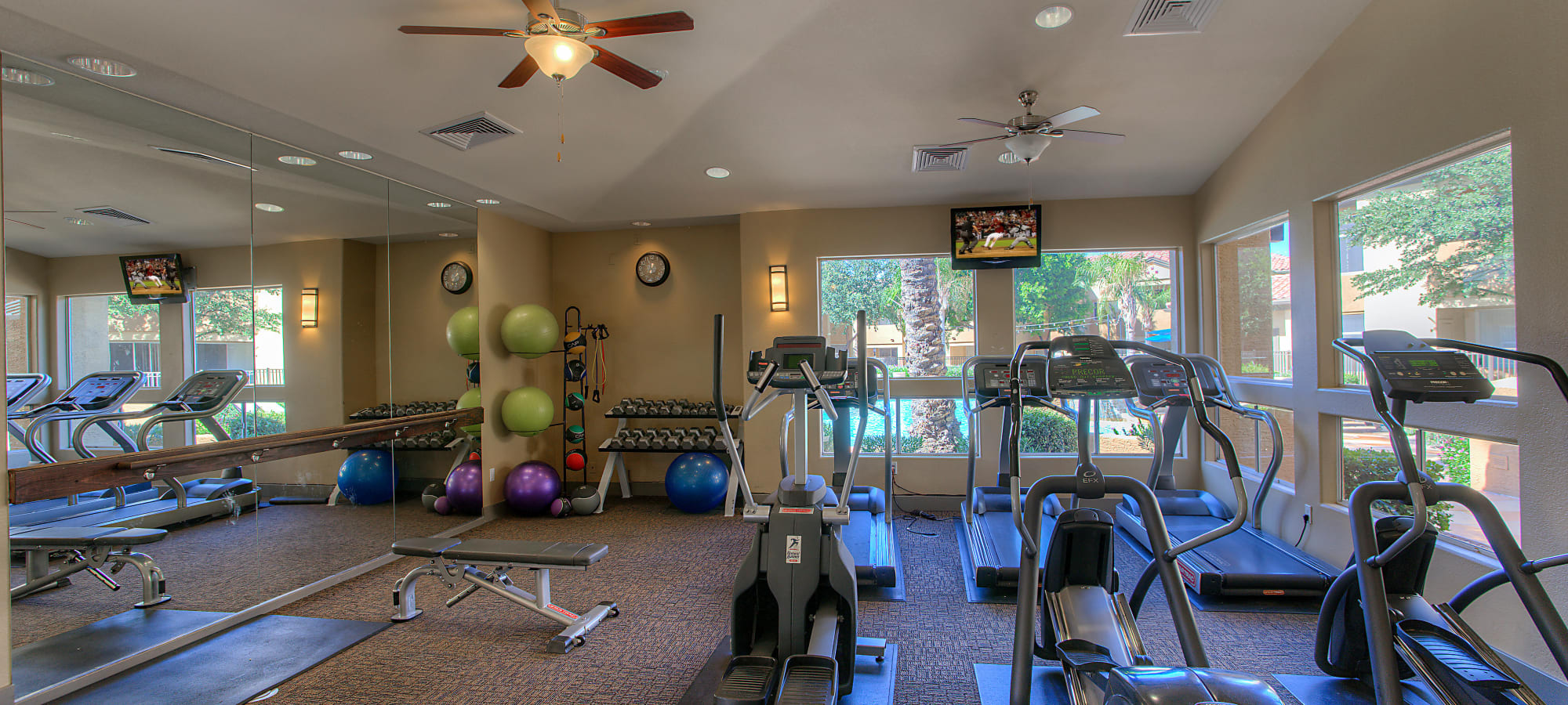 Well-equipped fitness center at Bellagio in Scottsdale, Arizona