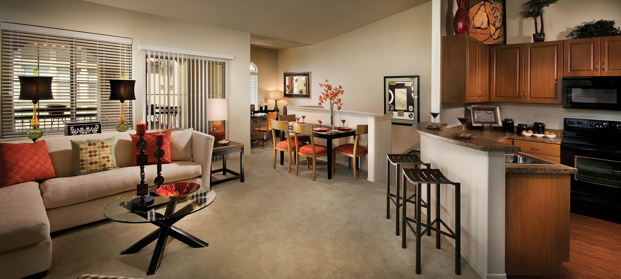 Spacious living room in model home at Ravenwood Heights in Tempe, Arizona
