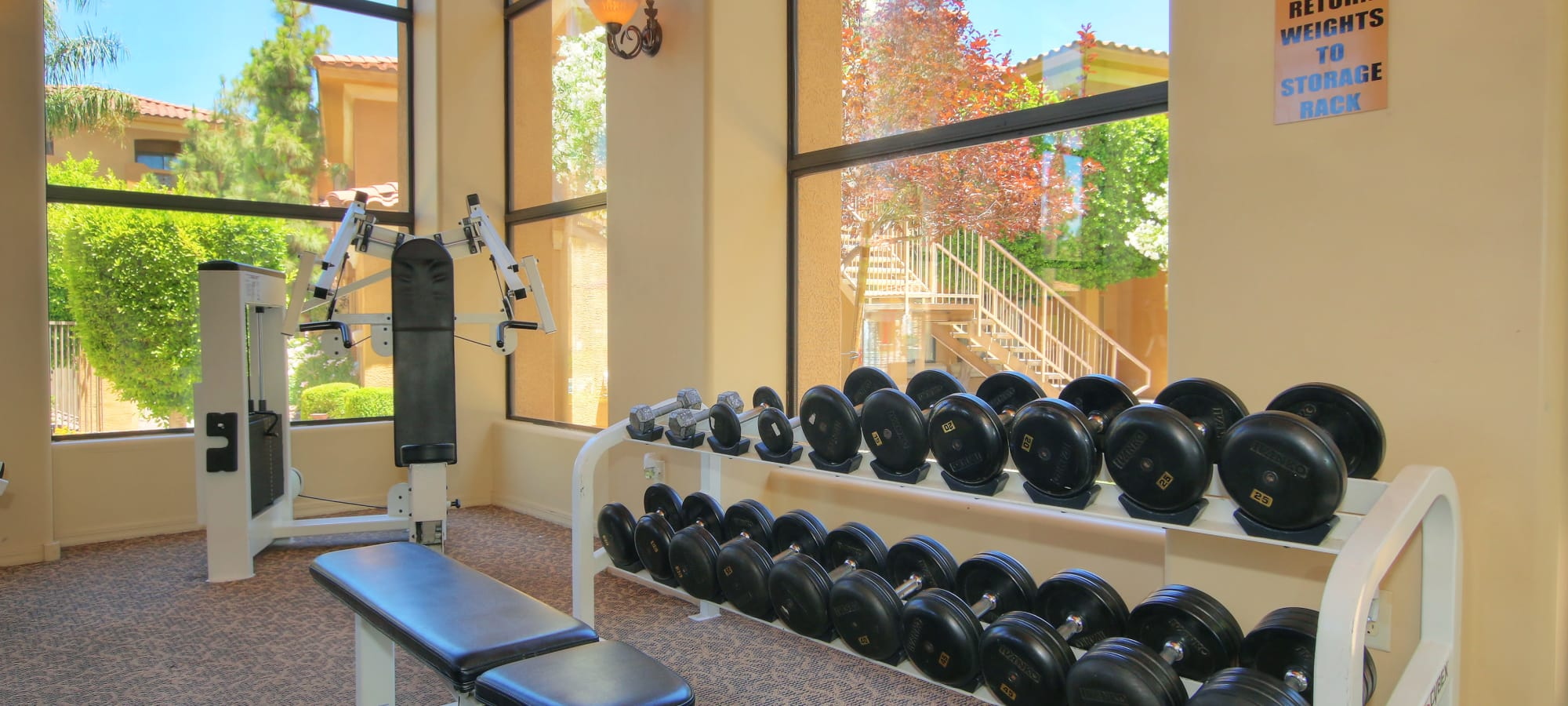 Weights inside the fitness center at The Retreat at the Raven in Phoenix, Arizona