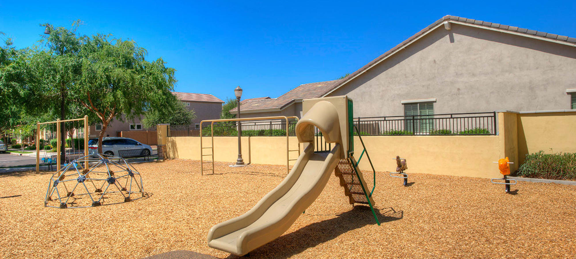 Children's slide in the playground at BB Living at Higley Park in Gilbert, Arizona