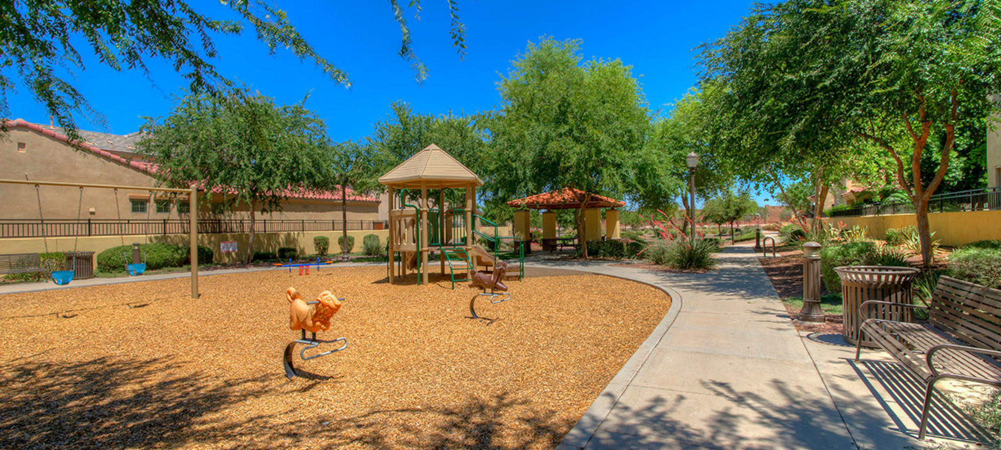 Walkway around playground at BB Living at Higley Park in Gilbert, Arizona