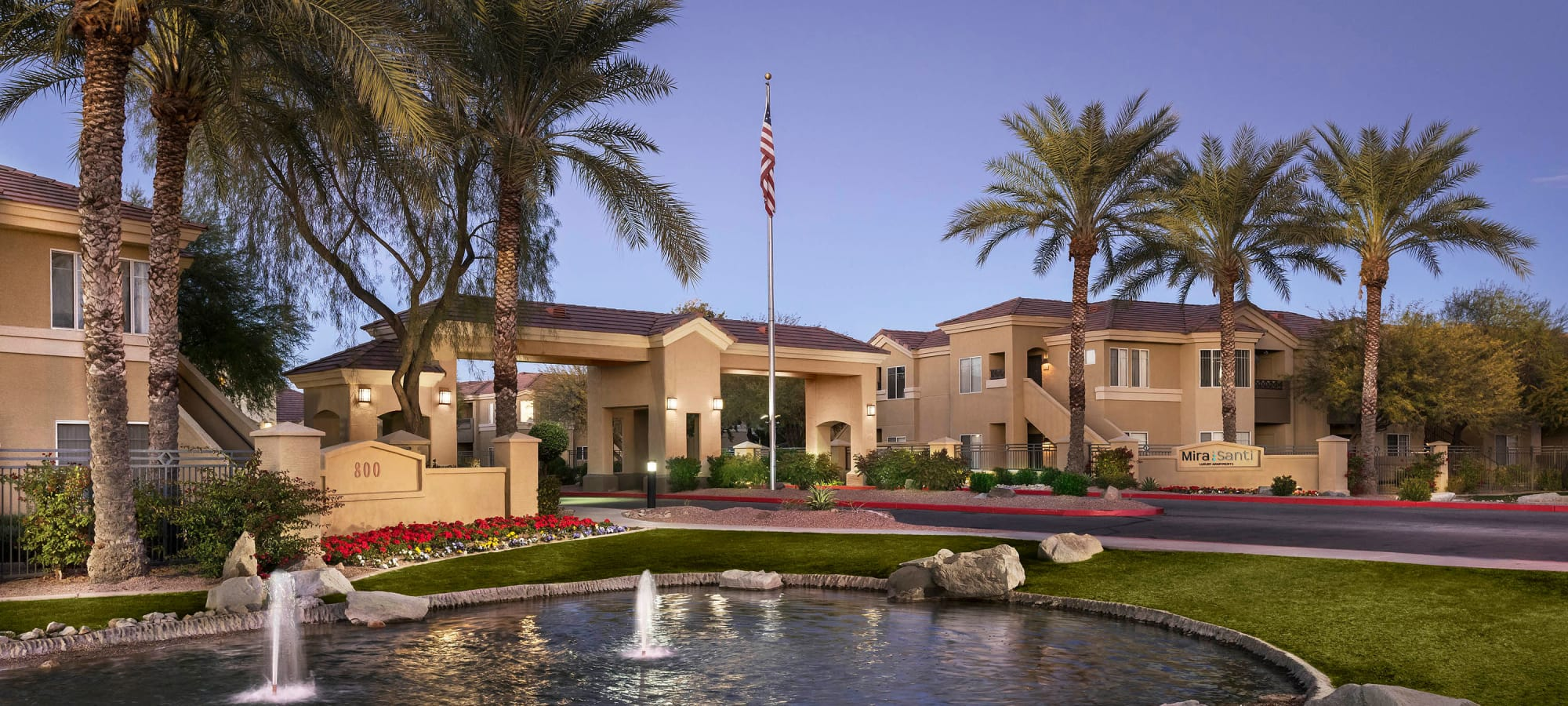 Fountains at the entrance to our community at Mira Santi in Chandler, Arizona