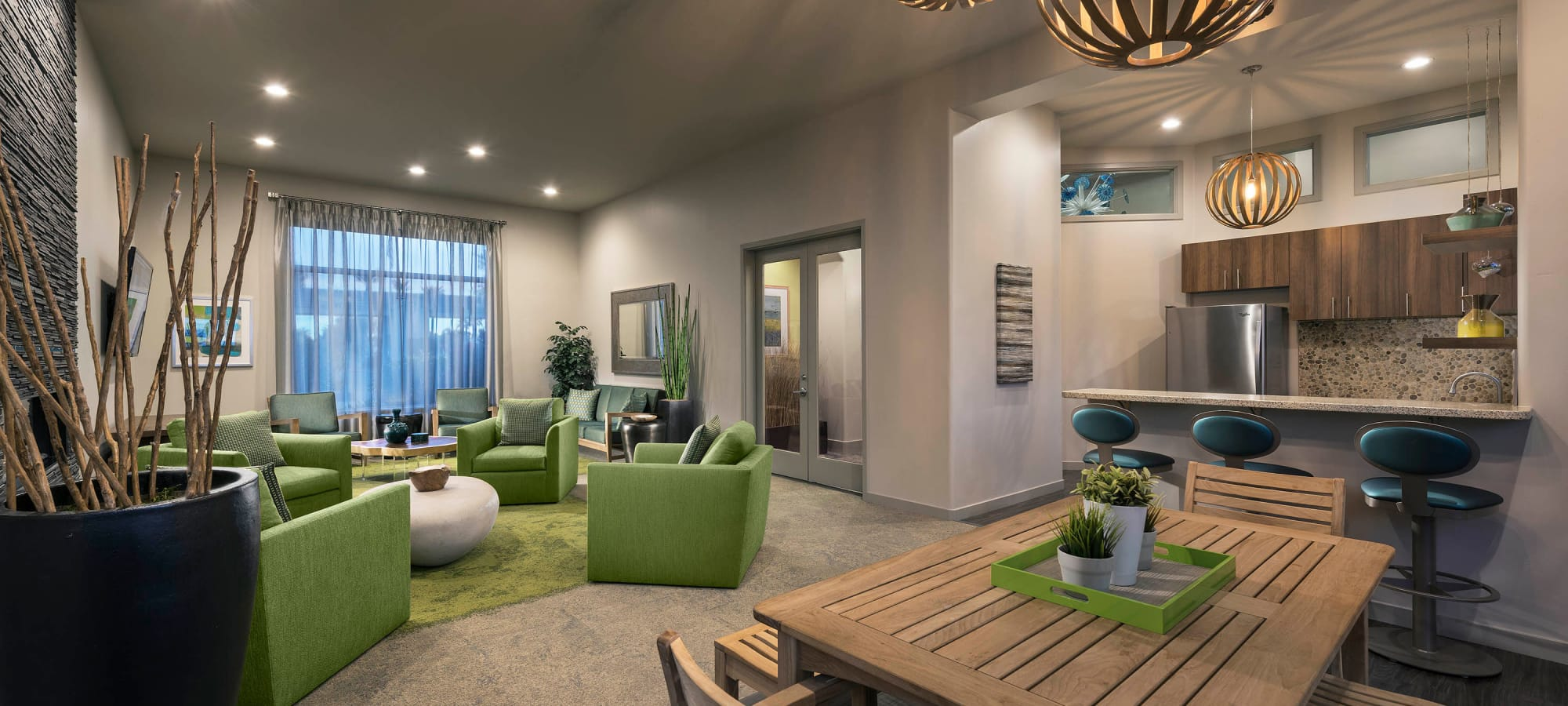 Modern decor in the resident clubhouse at Mira Santi in Chandler, Arizona