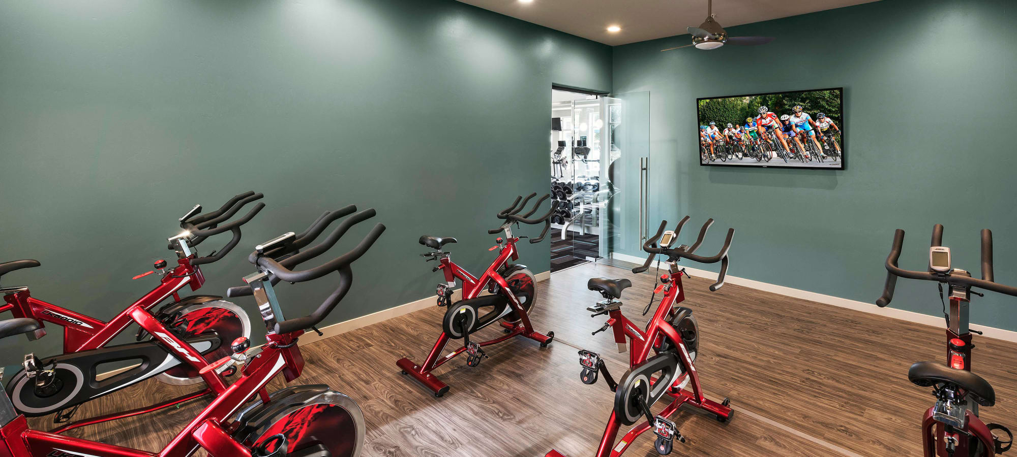 Exercise bikes in the spin center at Mira Santi in Chandler, Arizona