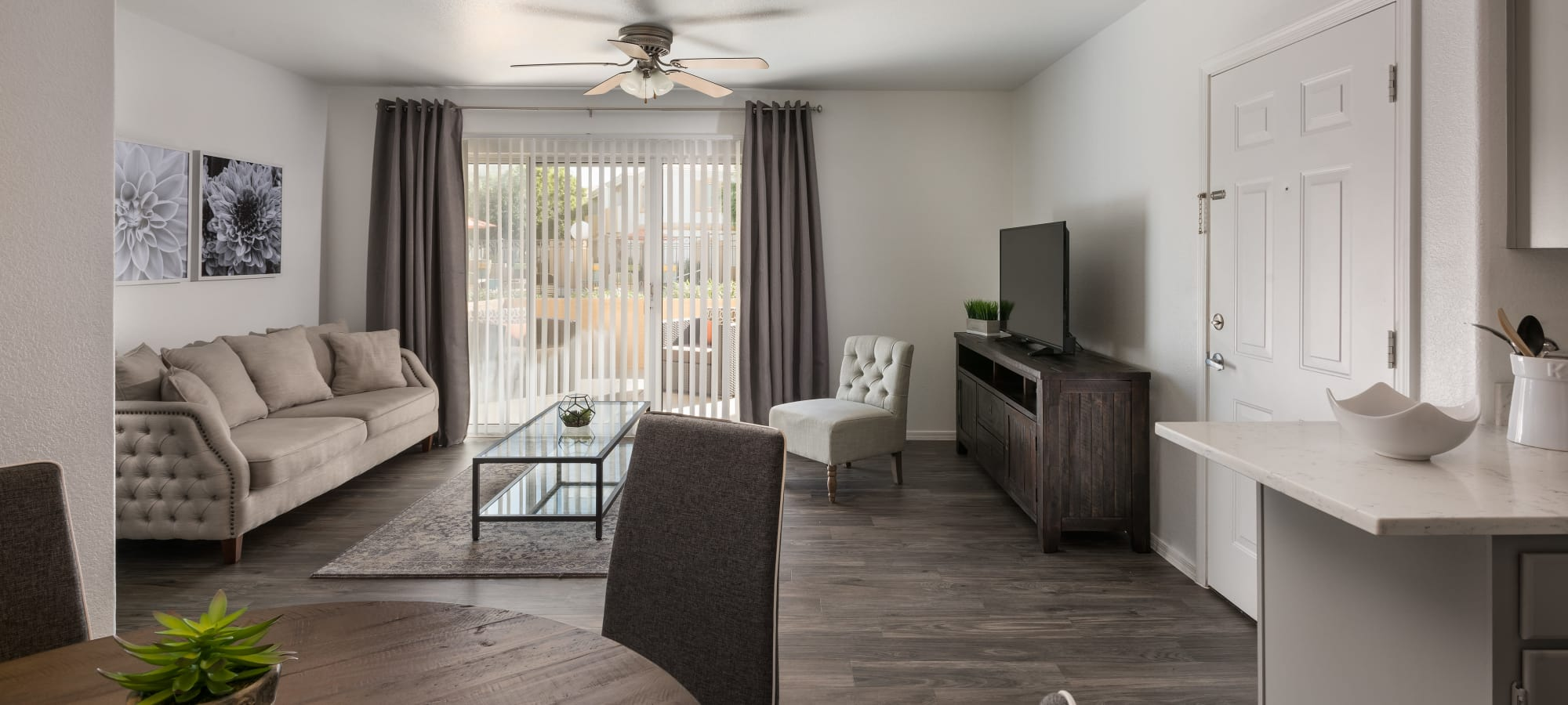 Spacious living room in model home at Club Cancun in Chandler, Arizona