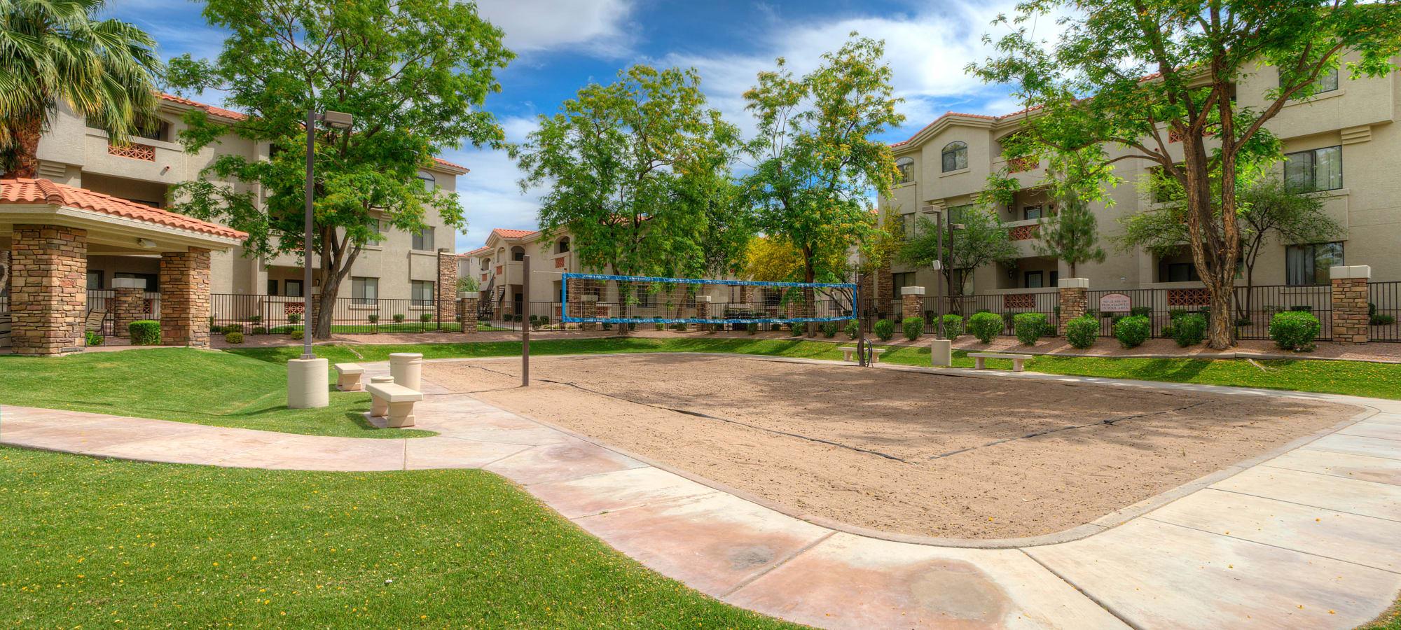 Volleyball court at San Hacienda in Chandler, Arizona