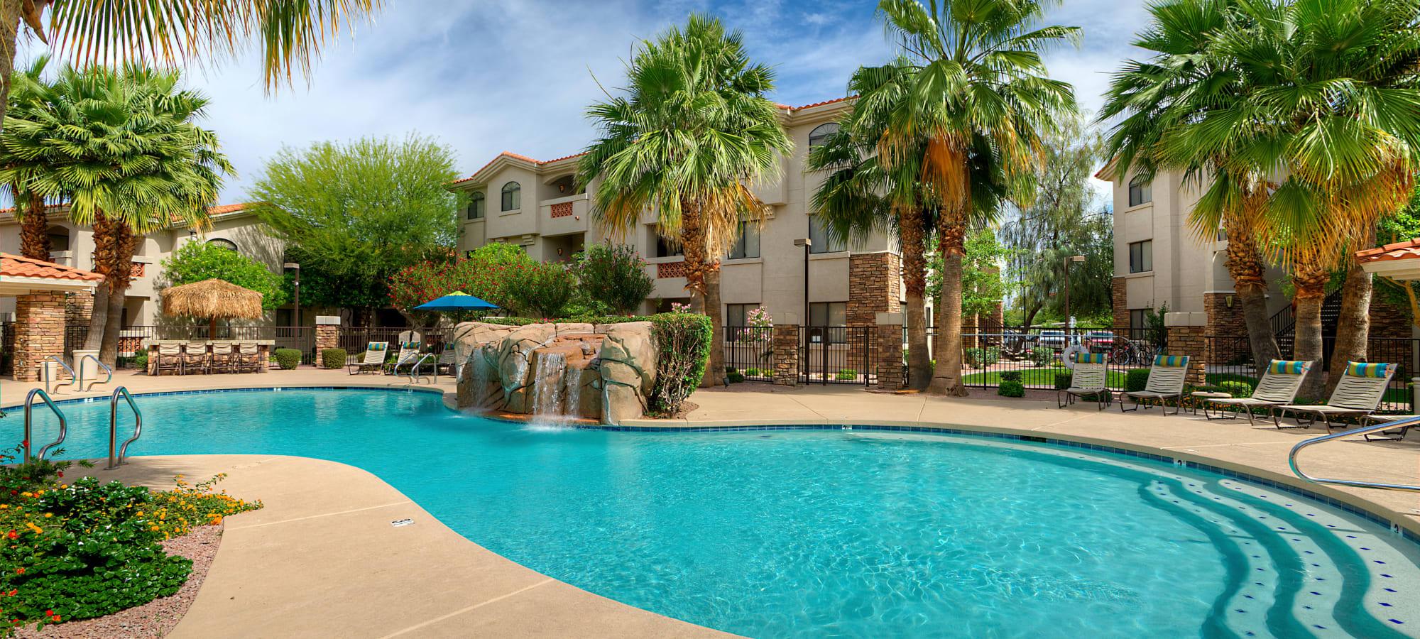 Large resort swimming pool at San Hacienda in Chandler, Arizona