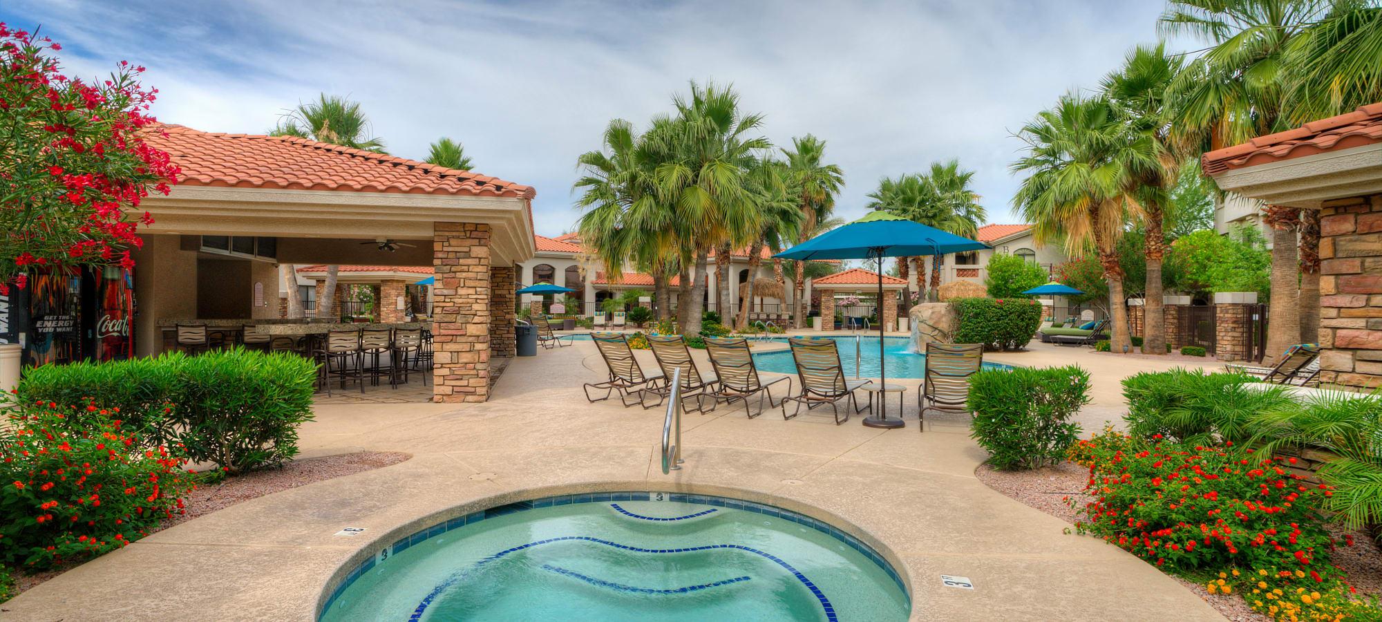 Resort-style hot tub at San Hacienda in Chandler, Arizona