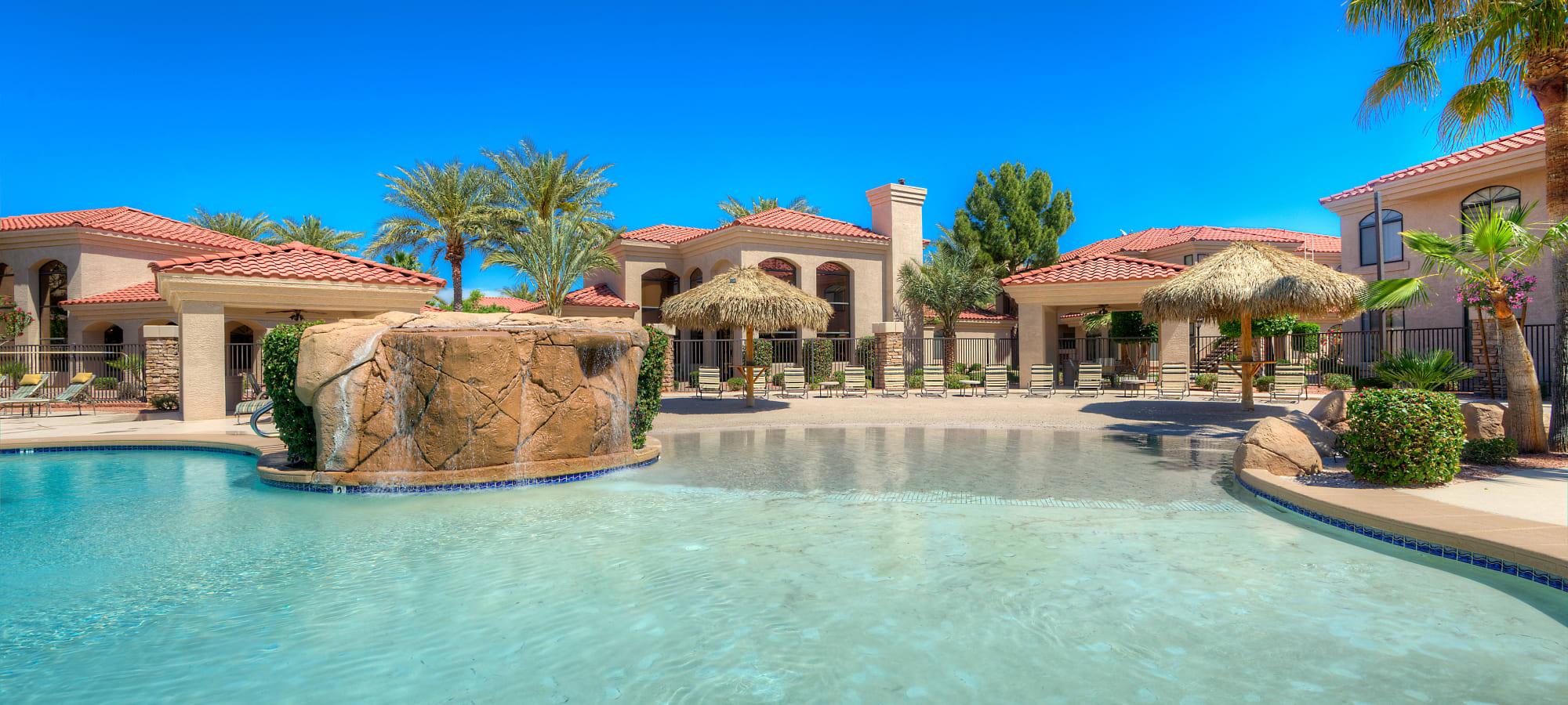 Tropical-style swimming pool at San Lagos in Glendale, Arizona