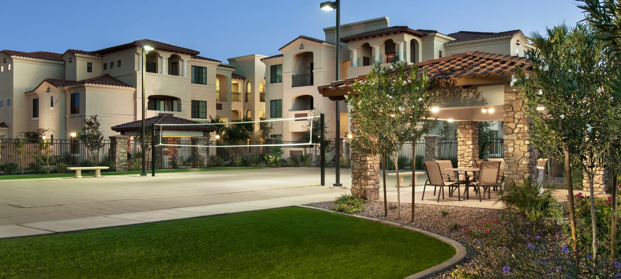 Luxury volleyball court at San Privada in Gilbert, Arizona