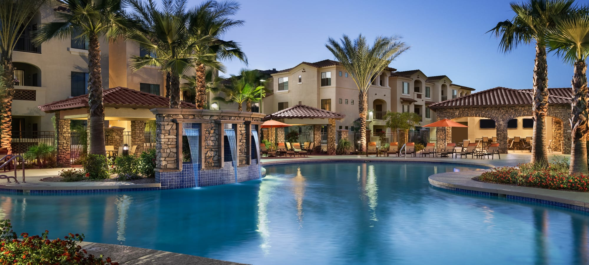 Resort swimming pool at San Valencia in Chandler, Arizona