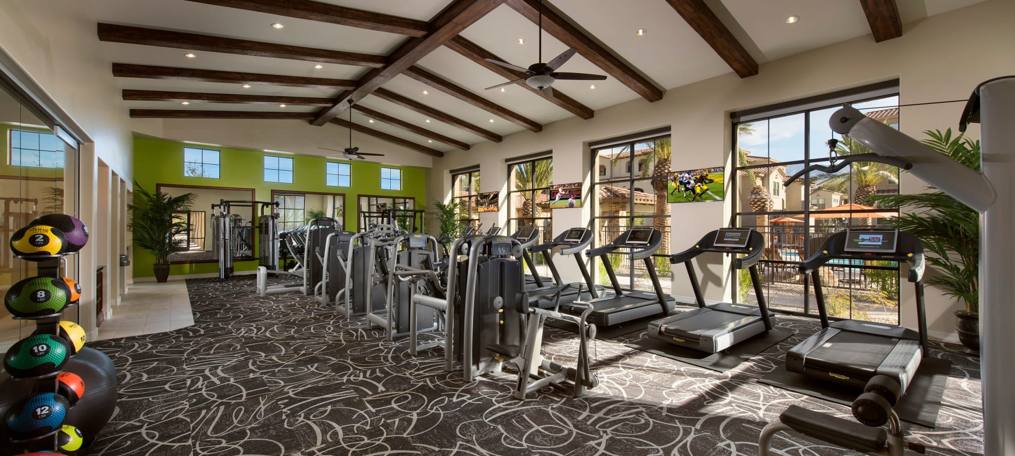 Luxury fitness center at San Valencia in Chandler, Arizona