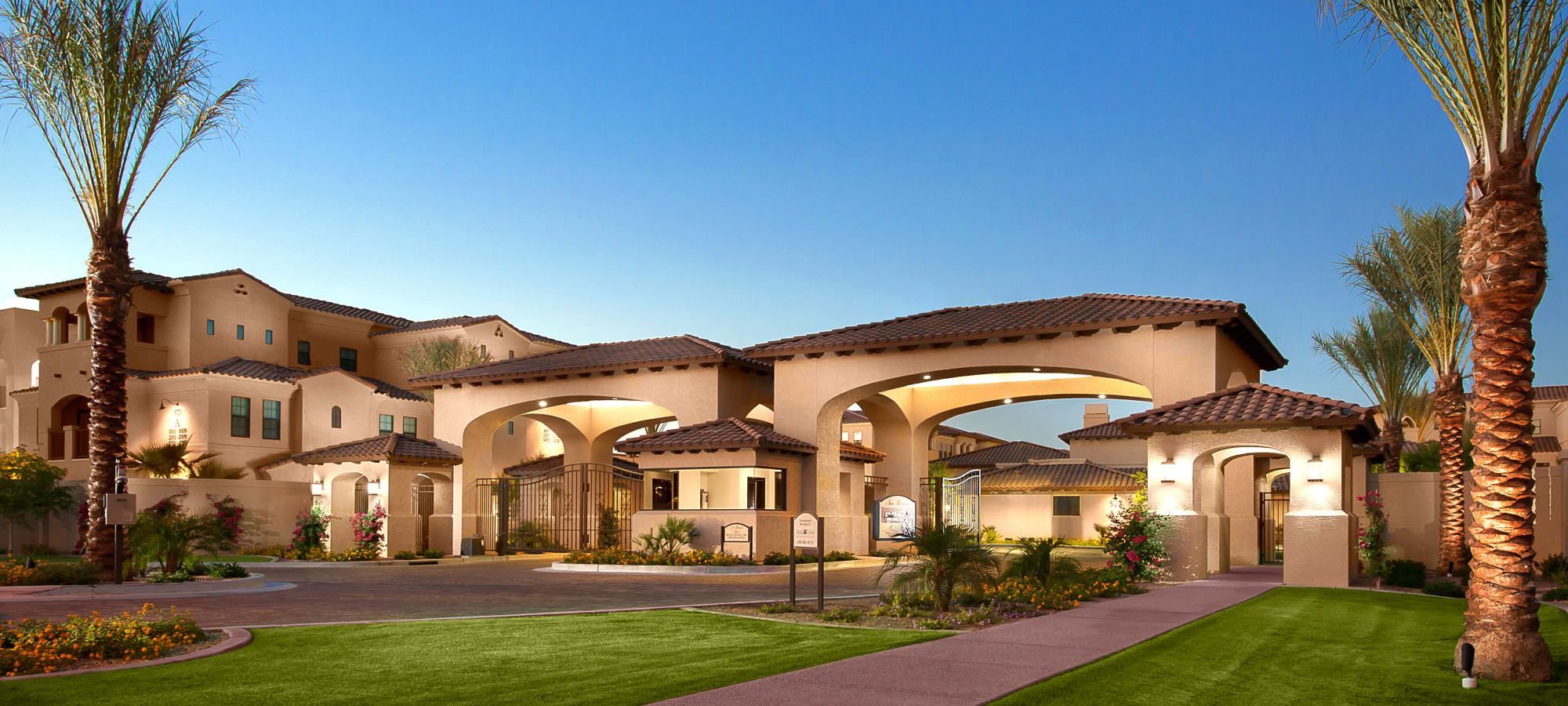 Beautifully landscaped entry to our community at San Marquis in Tempe, Arizona