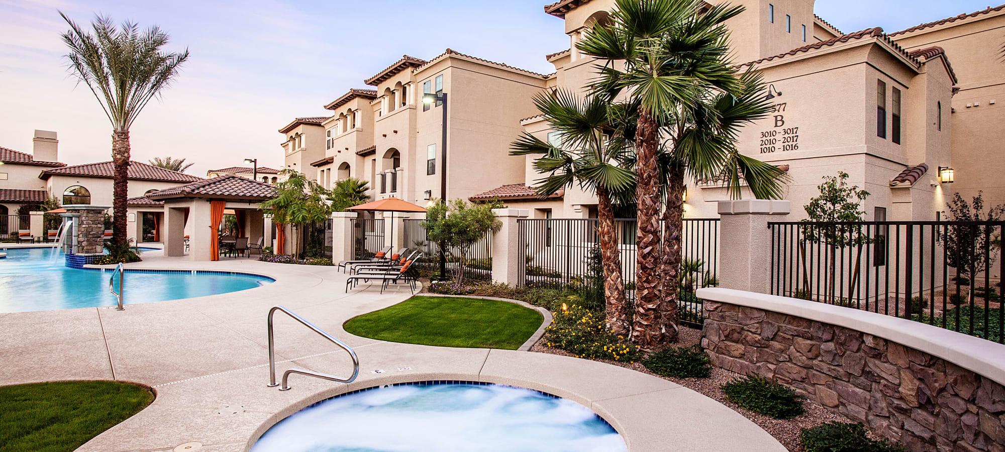 Hot tub and swimming pool area at San Marquis in Tempe, Arizona