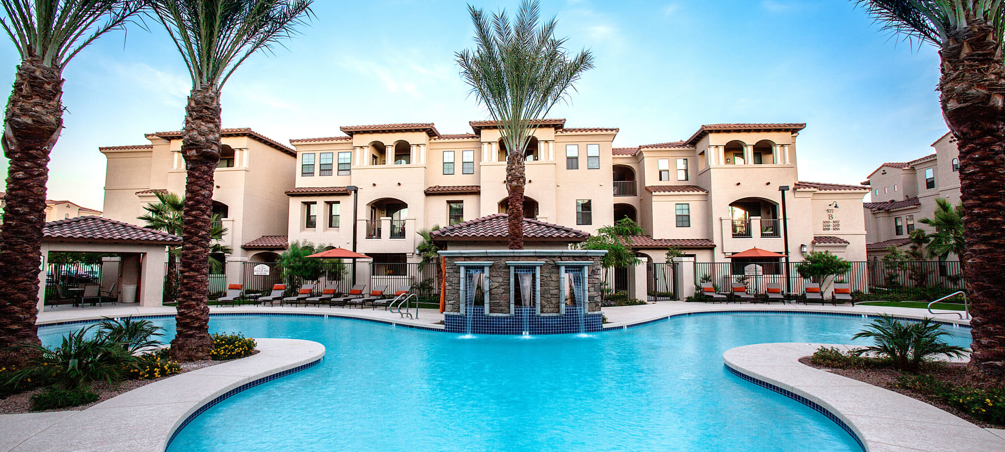 Gorgeous resort-style swimming pool at San Marquis in Tempe, Arizona