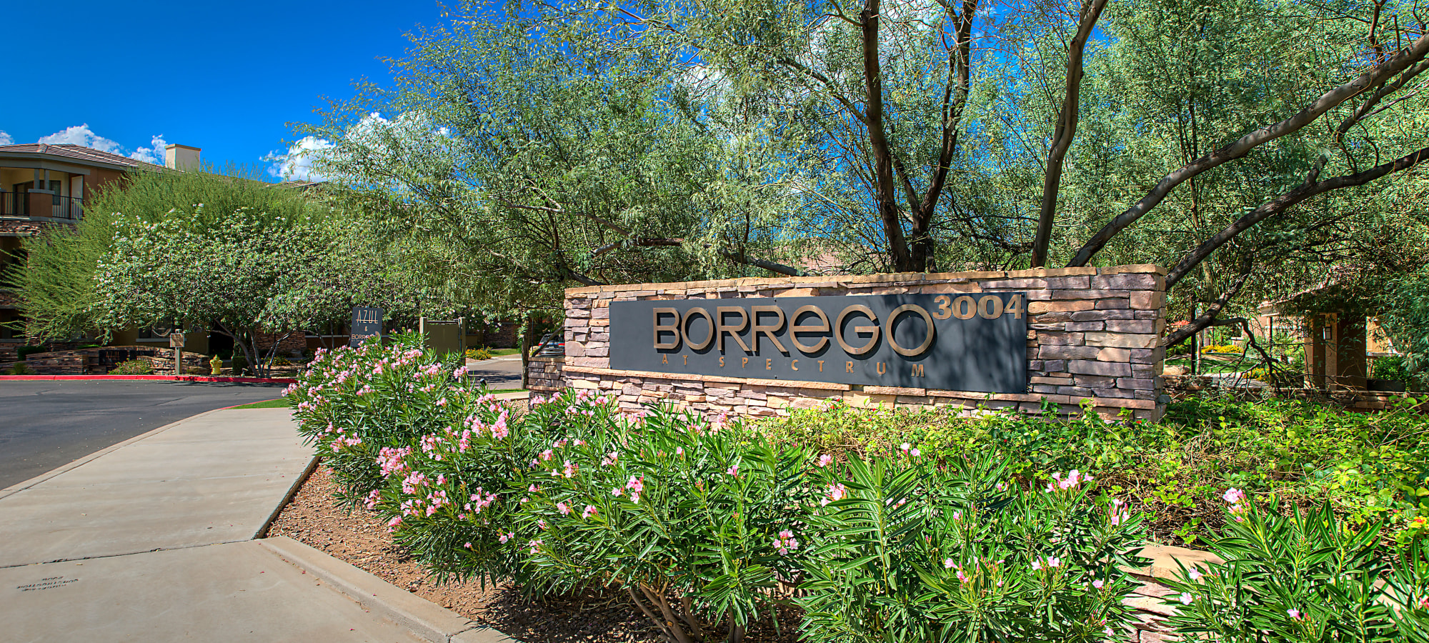 Front entrance sign at Borrego at Spectrum in Gilbert, Arizona