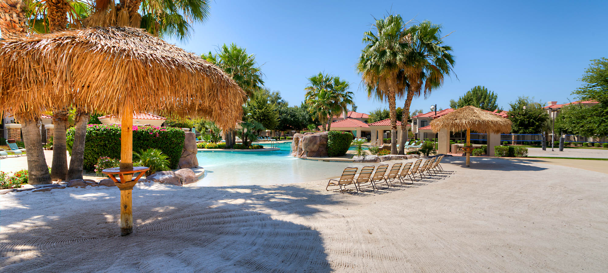 Beach-style swimming pool at San Cervantes in Chandler, Arizona