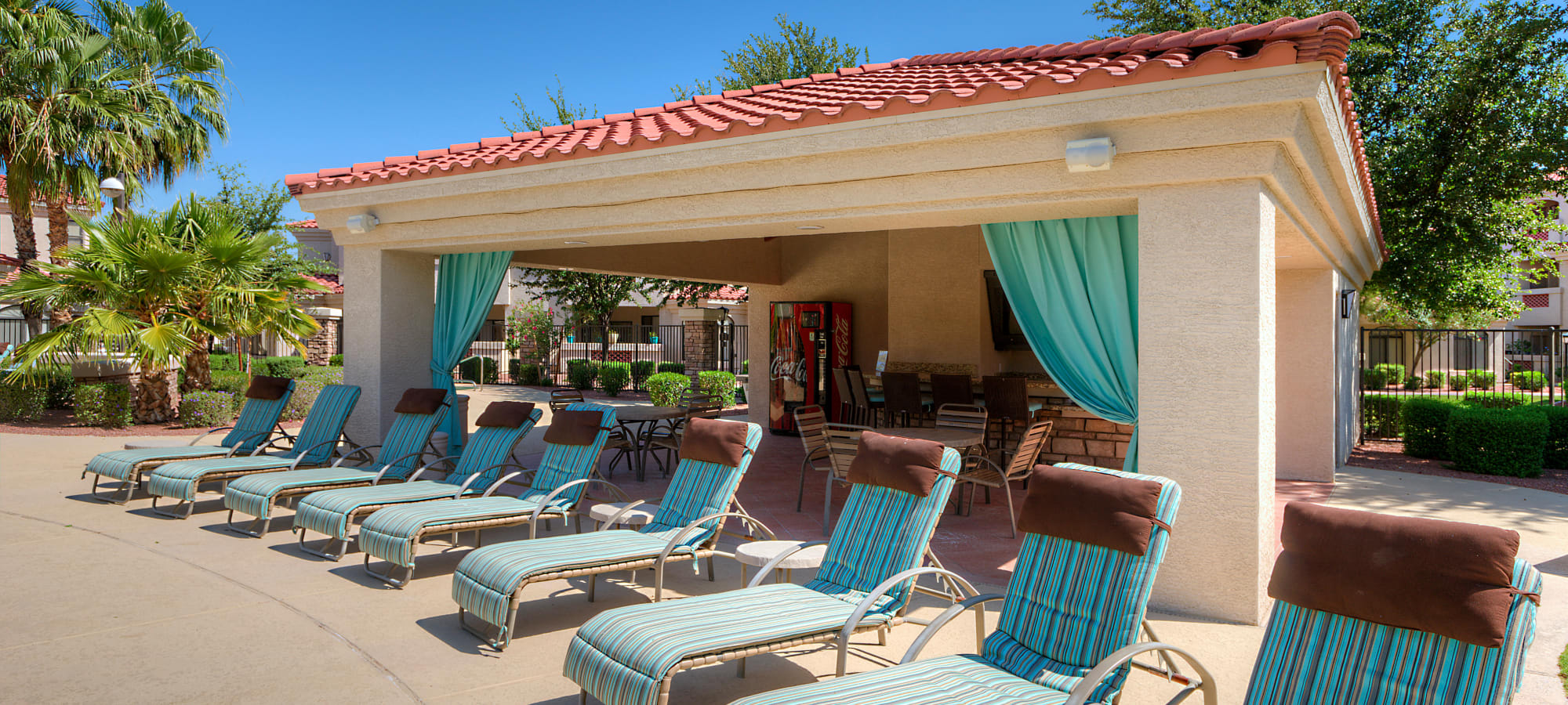 Poolside lounge chairs at San Cervantes in Chandler, Arizona