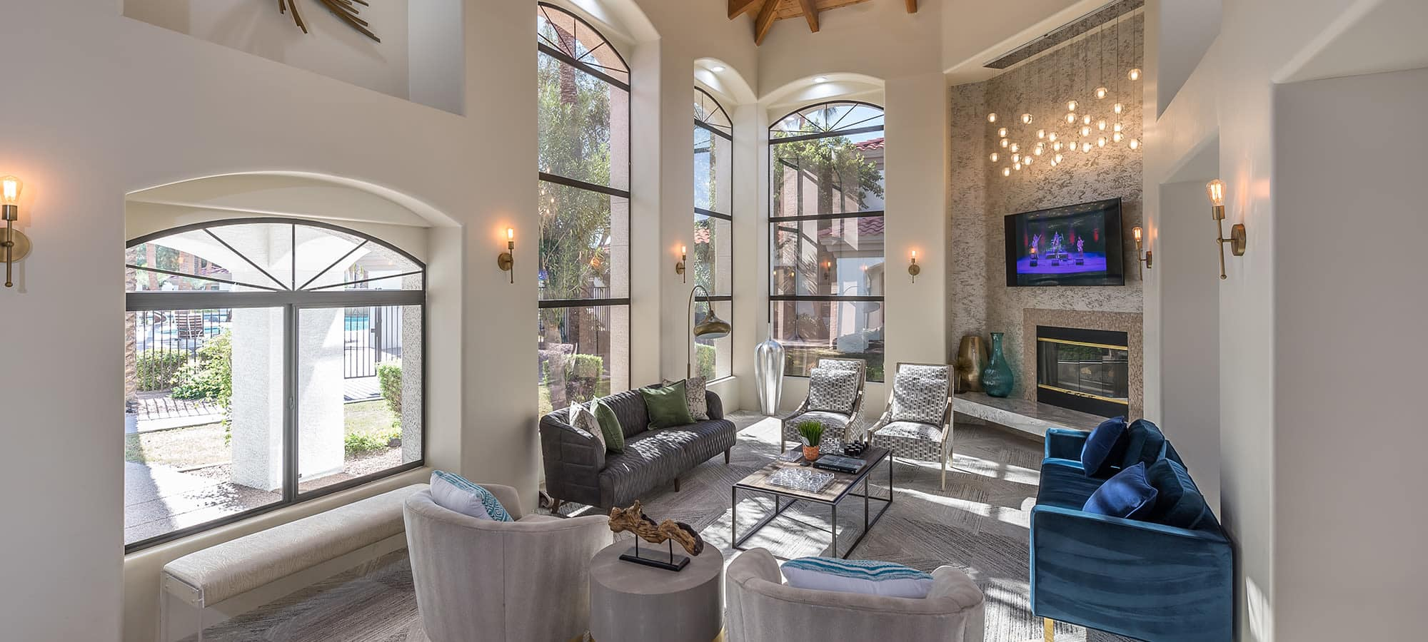 Community clubhouse with vaulted ceilings at San Palmas in Chandler, Arizona