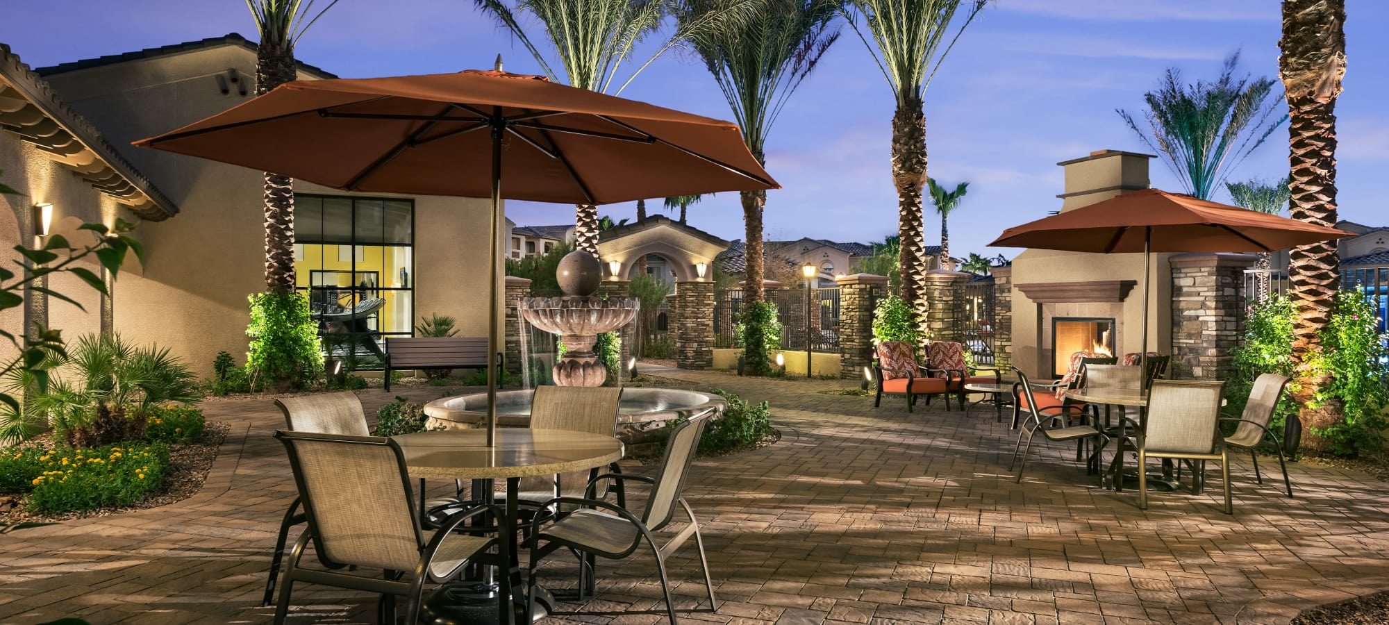 Outdoor community patio at San Posada in Mesa, Arizona