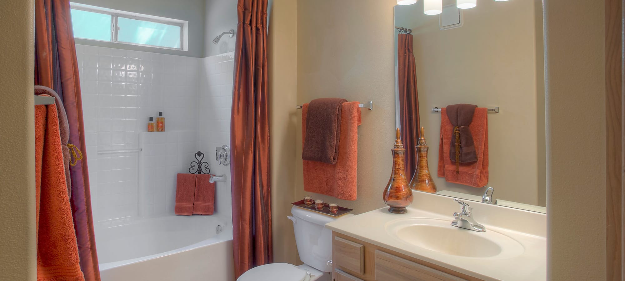 Decorated bathroom in model home at The Regents at Scottsdale in Scottsdale, Arizona