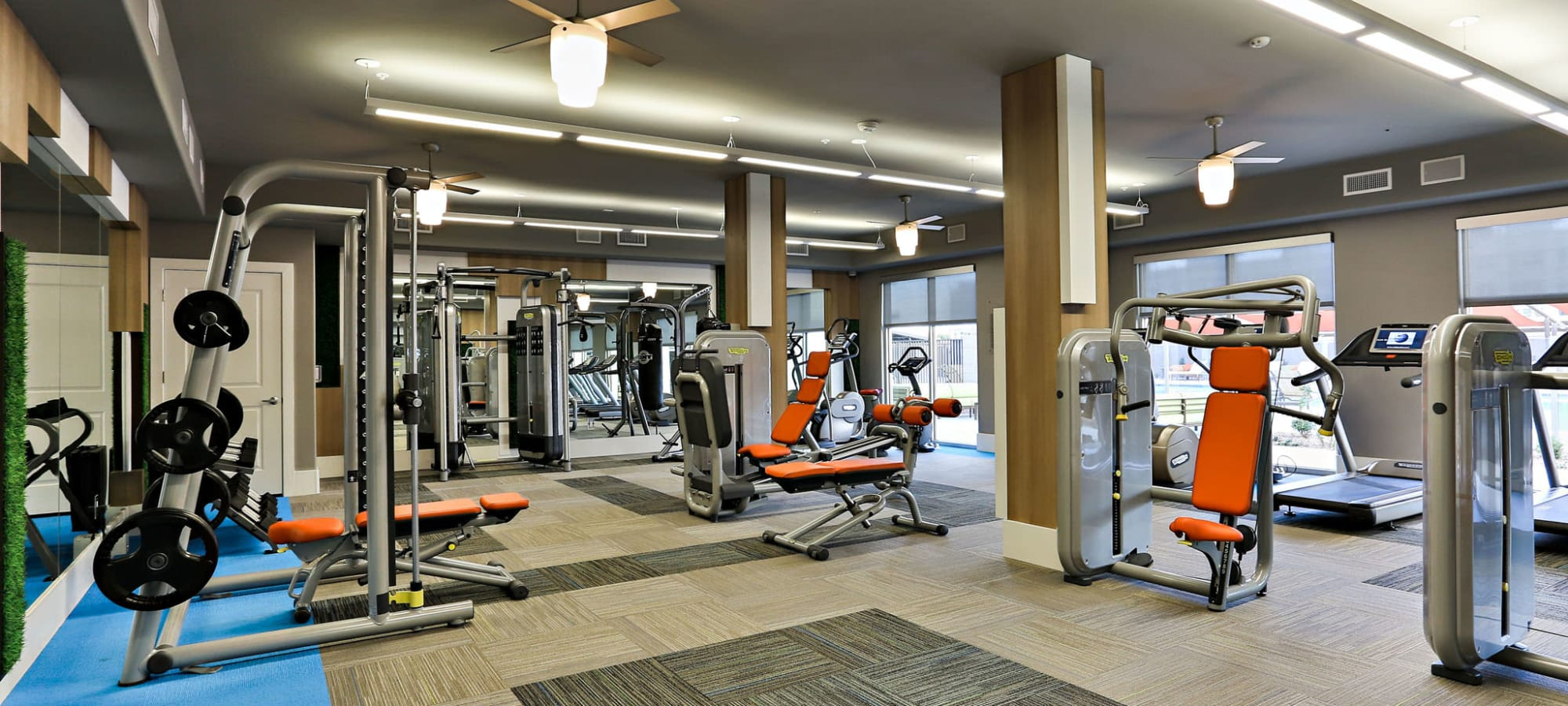 Free weights and cardio machines in the clubhouse at The Hyve in Tempe, Arizona