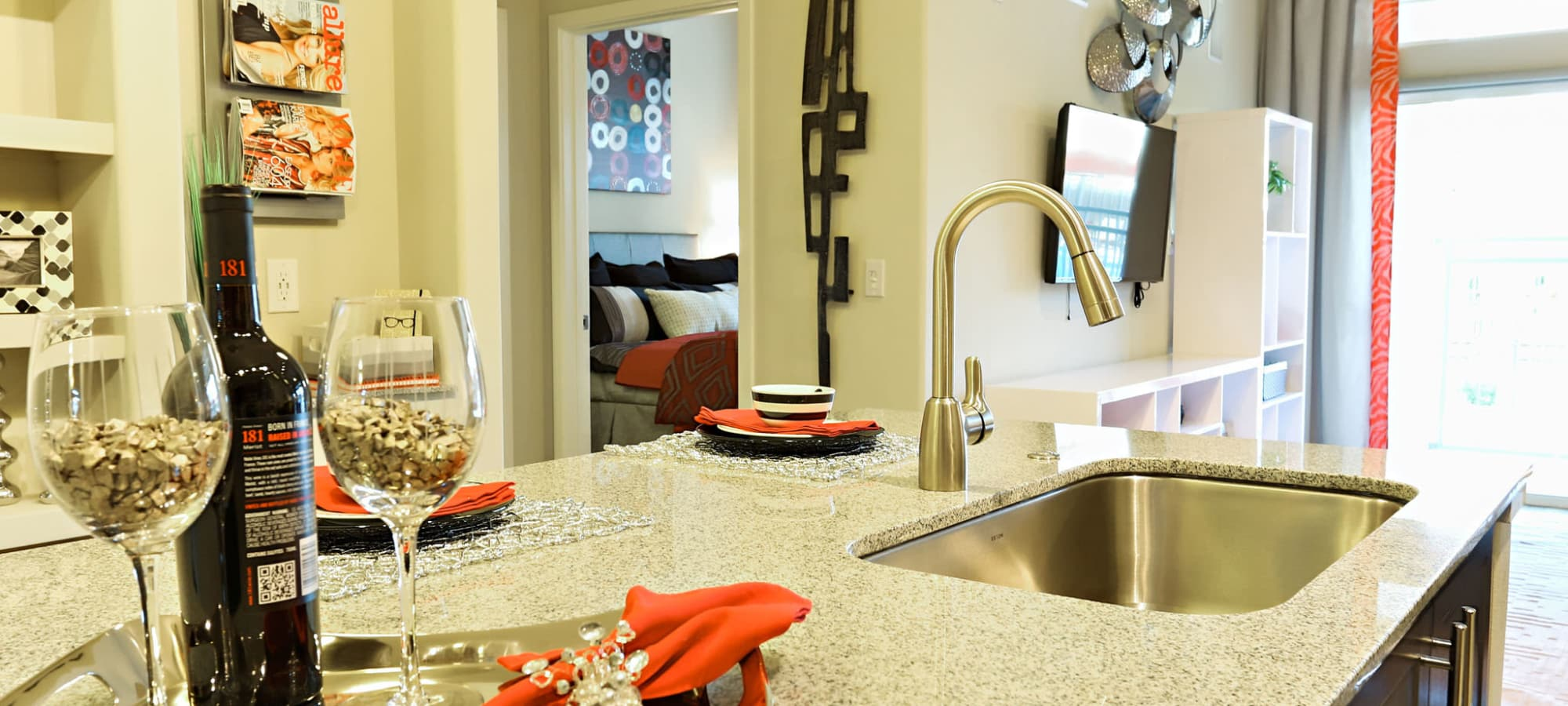 Granite countertops in model home at The Hyve in Tempe, Arizona