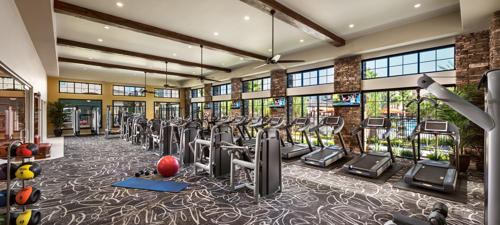 Well-equipped fitness center at San Privada in Gilbert, Arizona