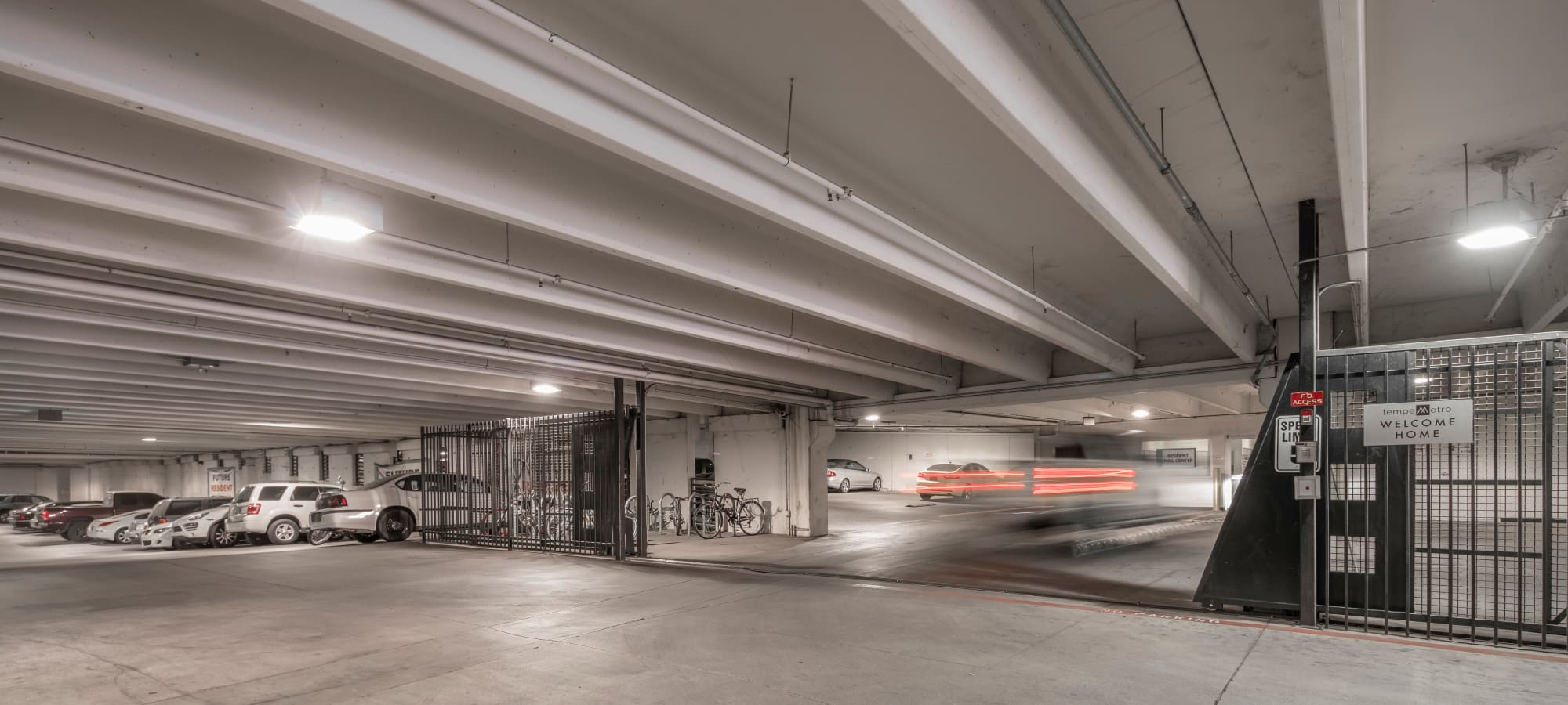 Large underground parking garage at Tempe Metro in Tempe, Arizona