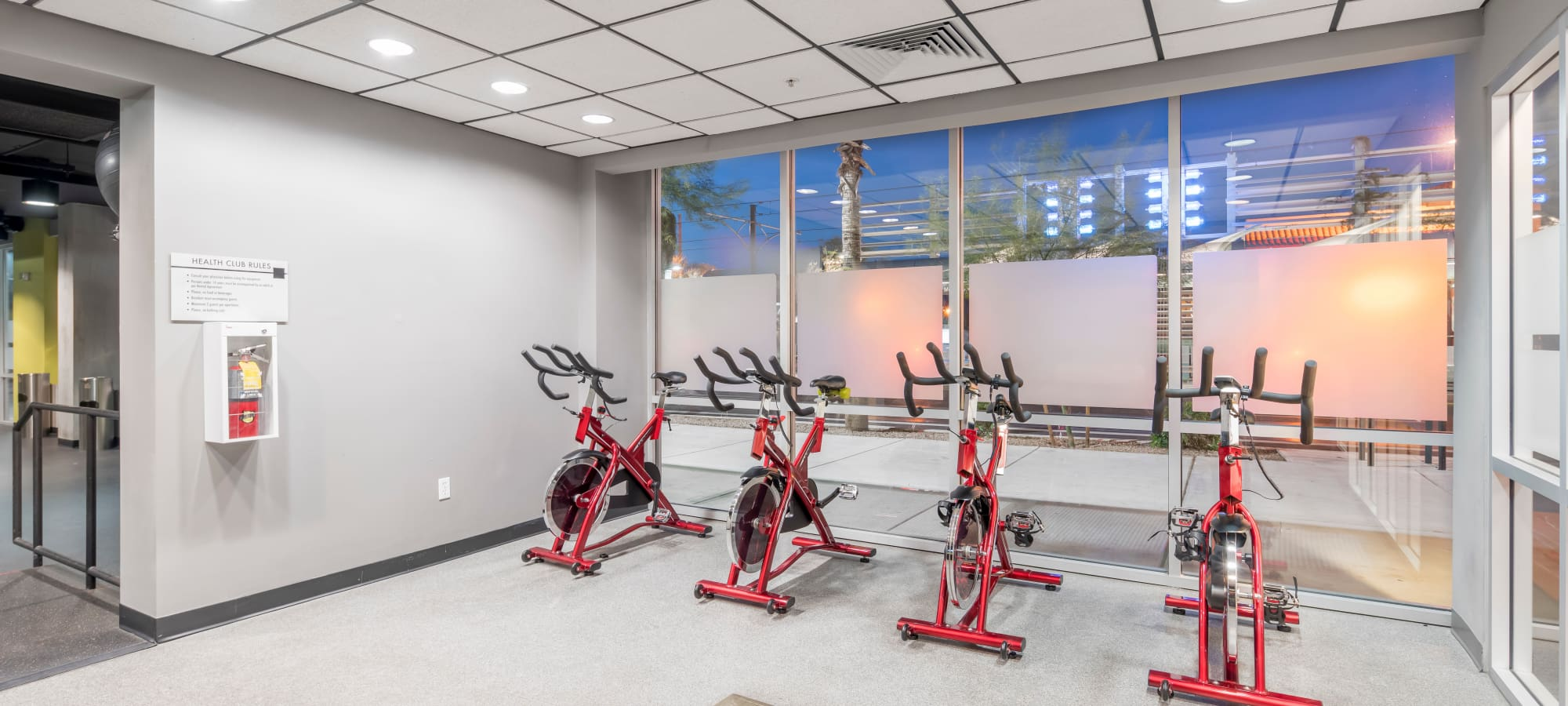 Fitness room with spin bikes at Tempe Metro in Tempe, Arizona