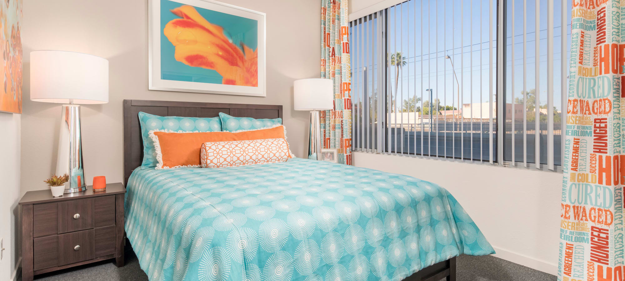 Large contemporary bedroom with window at Tempe Metro in Tempe, Arizona