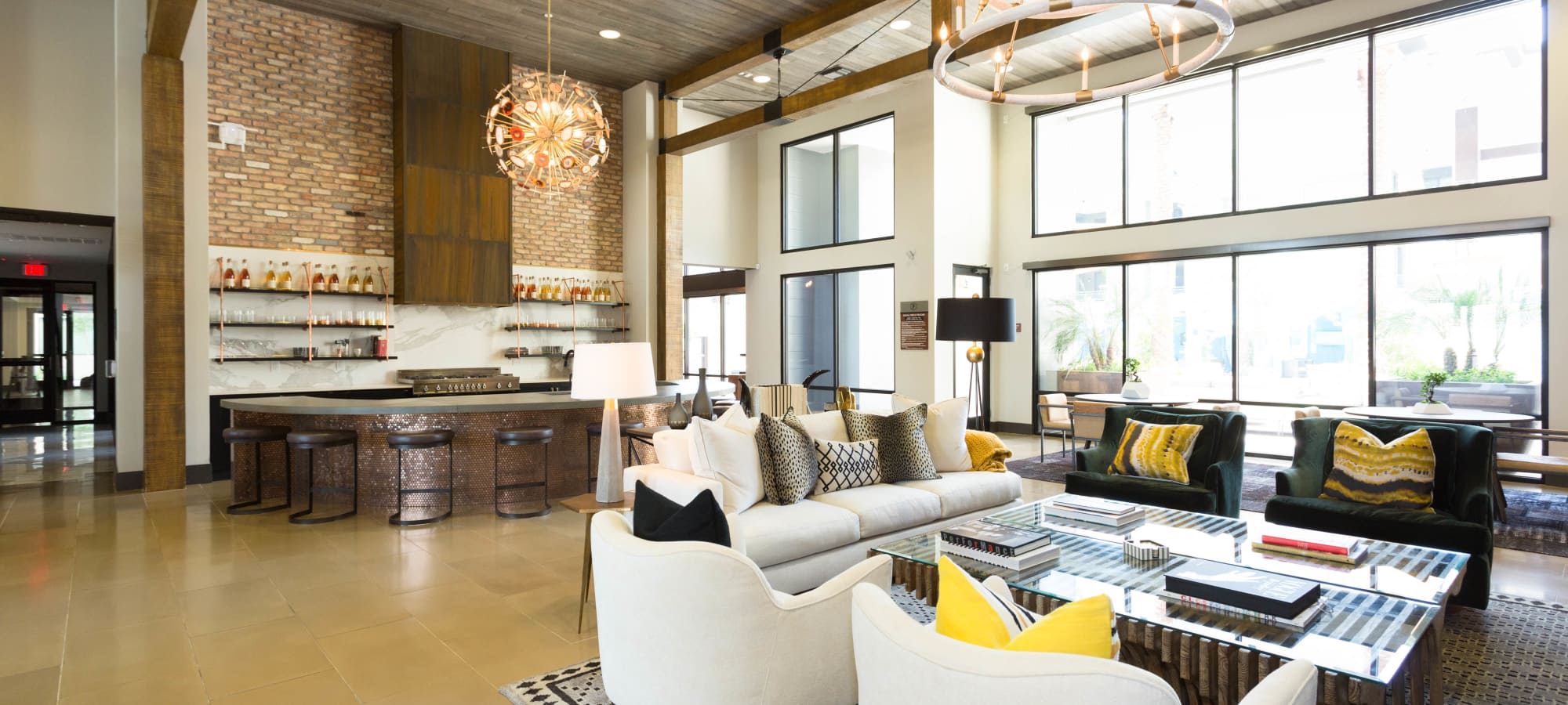 Beautiful and comfortable decor in the lobby at Avant at Fashion Center in Chandler, Arizona