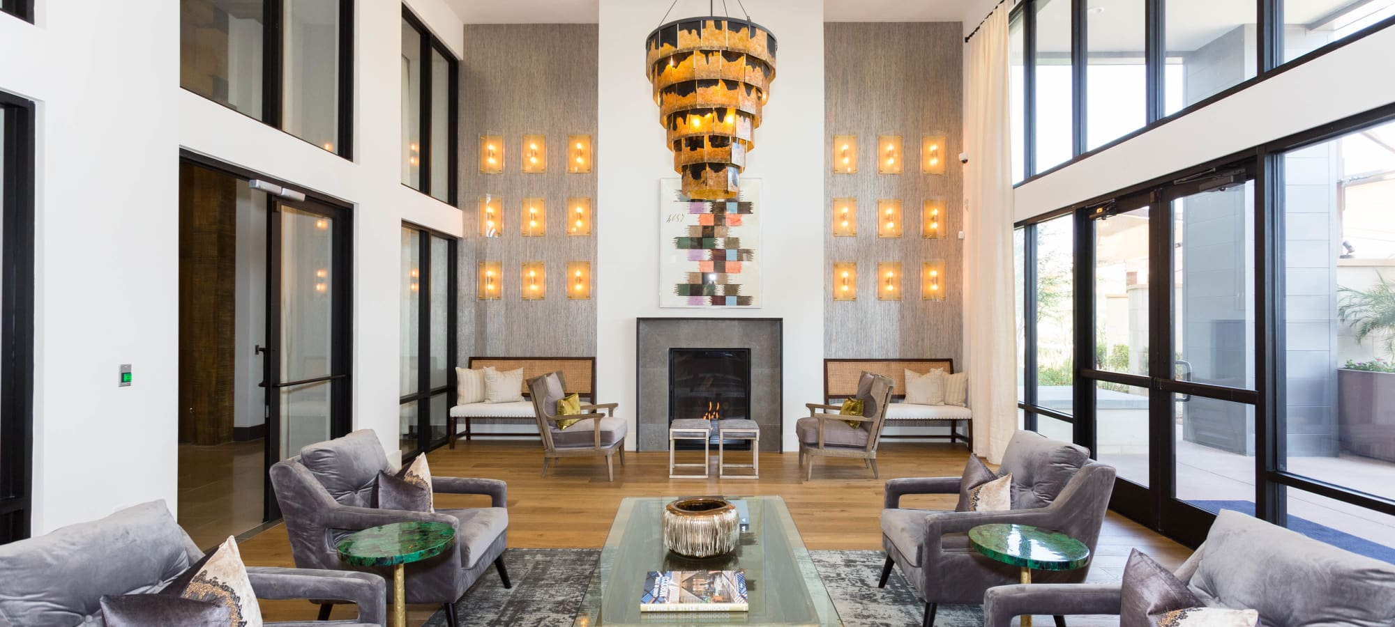 Lavishly decorated resident clubhouse interior at Avant at Fashion Center in Chandler, Arizona