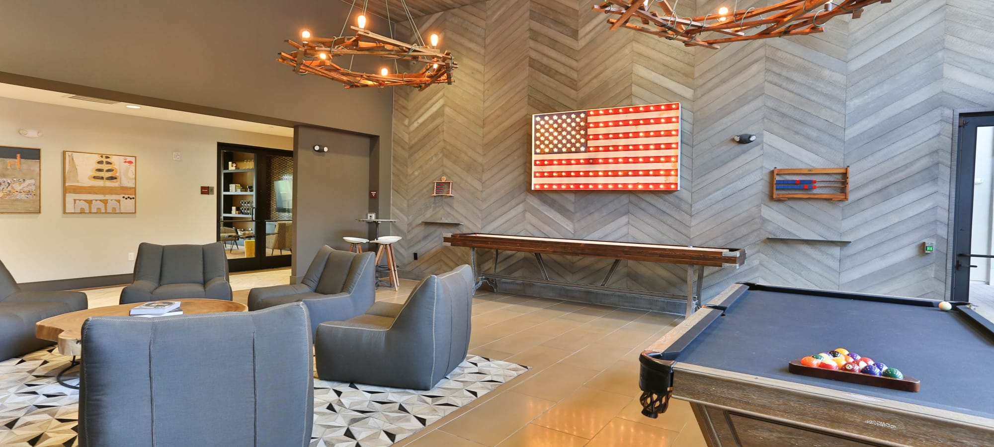 Game room in the clubhouse at Avant at Fashion Center in Chandler, Arizona