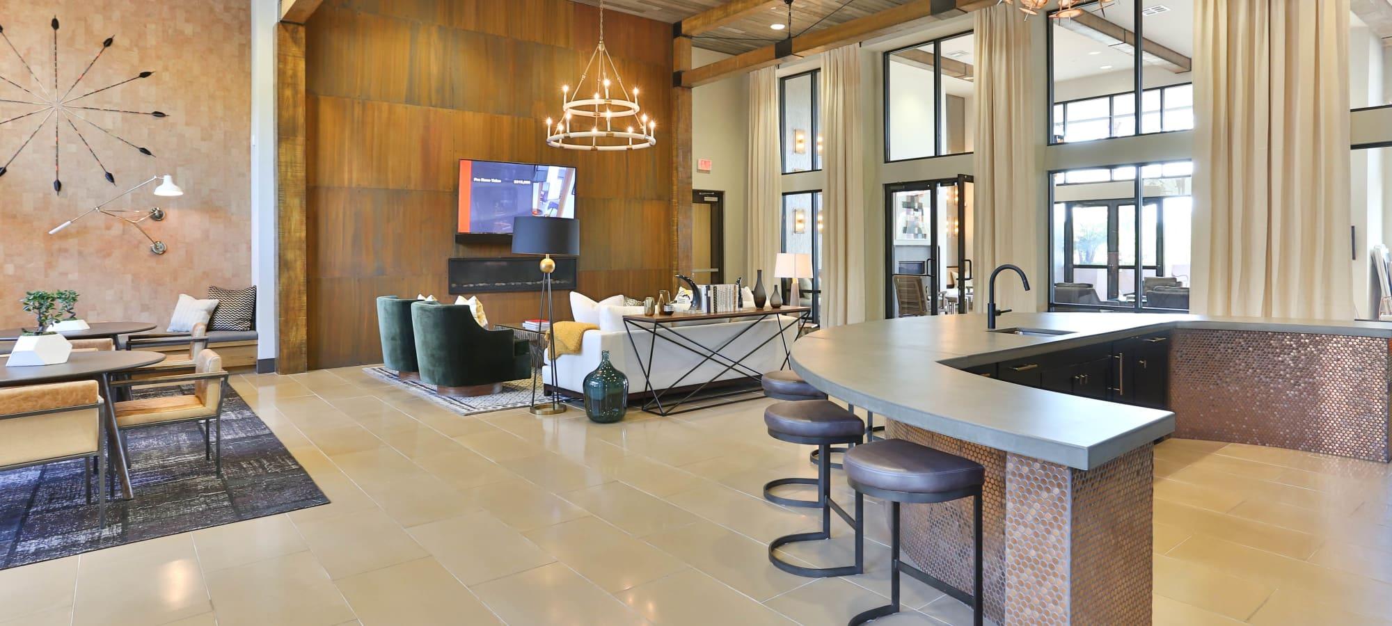 Lobby interior at Avant at Fashion Center in Chandler, Arizona