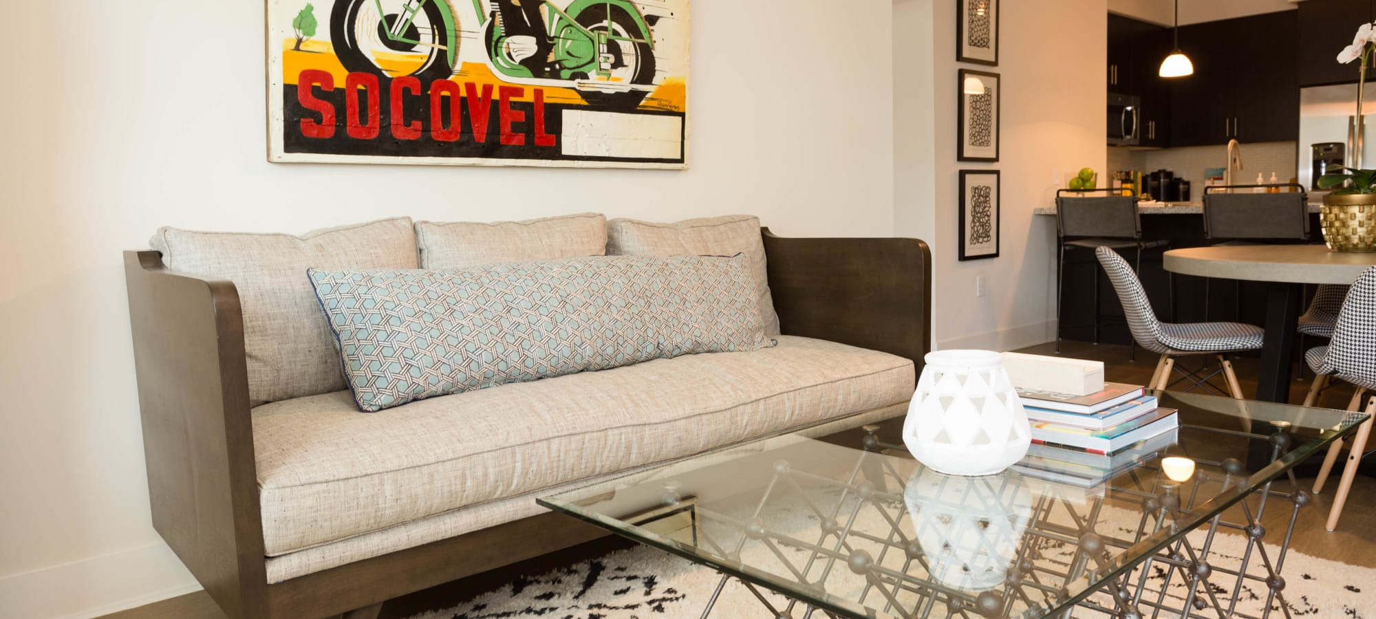 Well-decorated living area in model home at Avant at Fashion Center in Chandler, Arizona