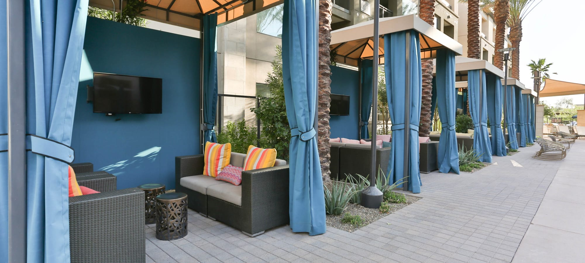 Cabanas near the pool at Avant at Fashion Center in Chandler, Arizona