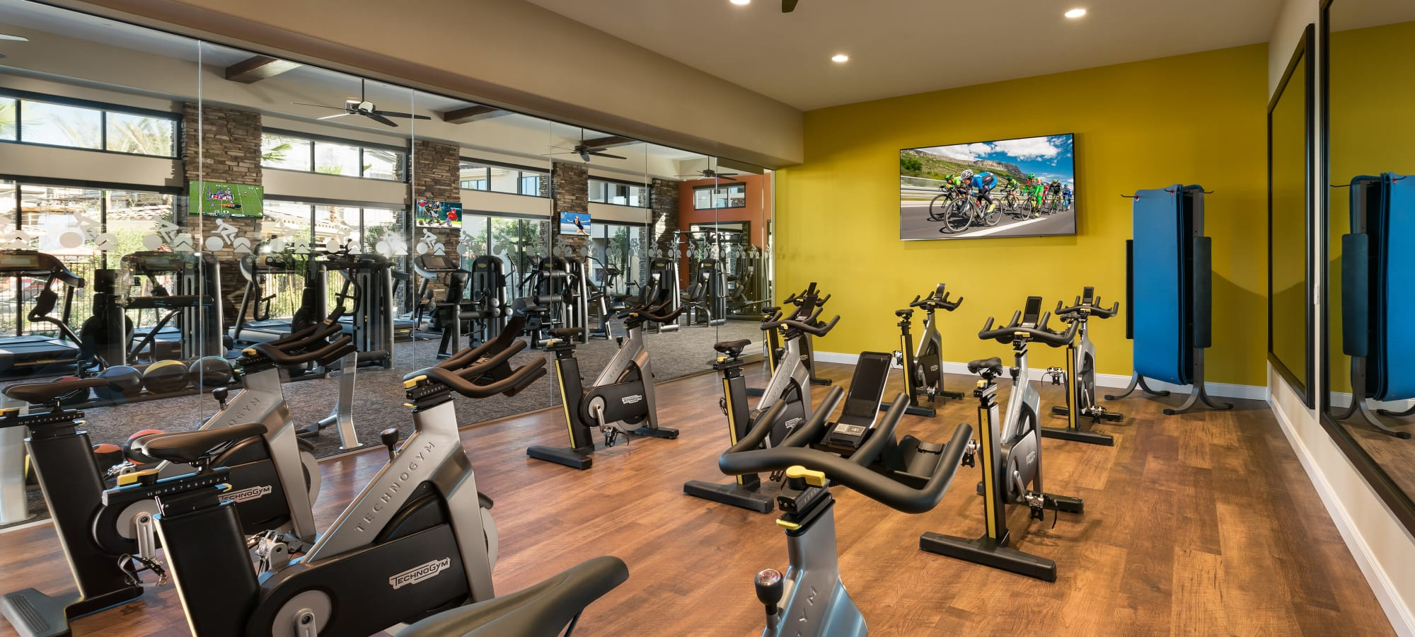 Spin class room at San Villante in Mesa, Arizona
