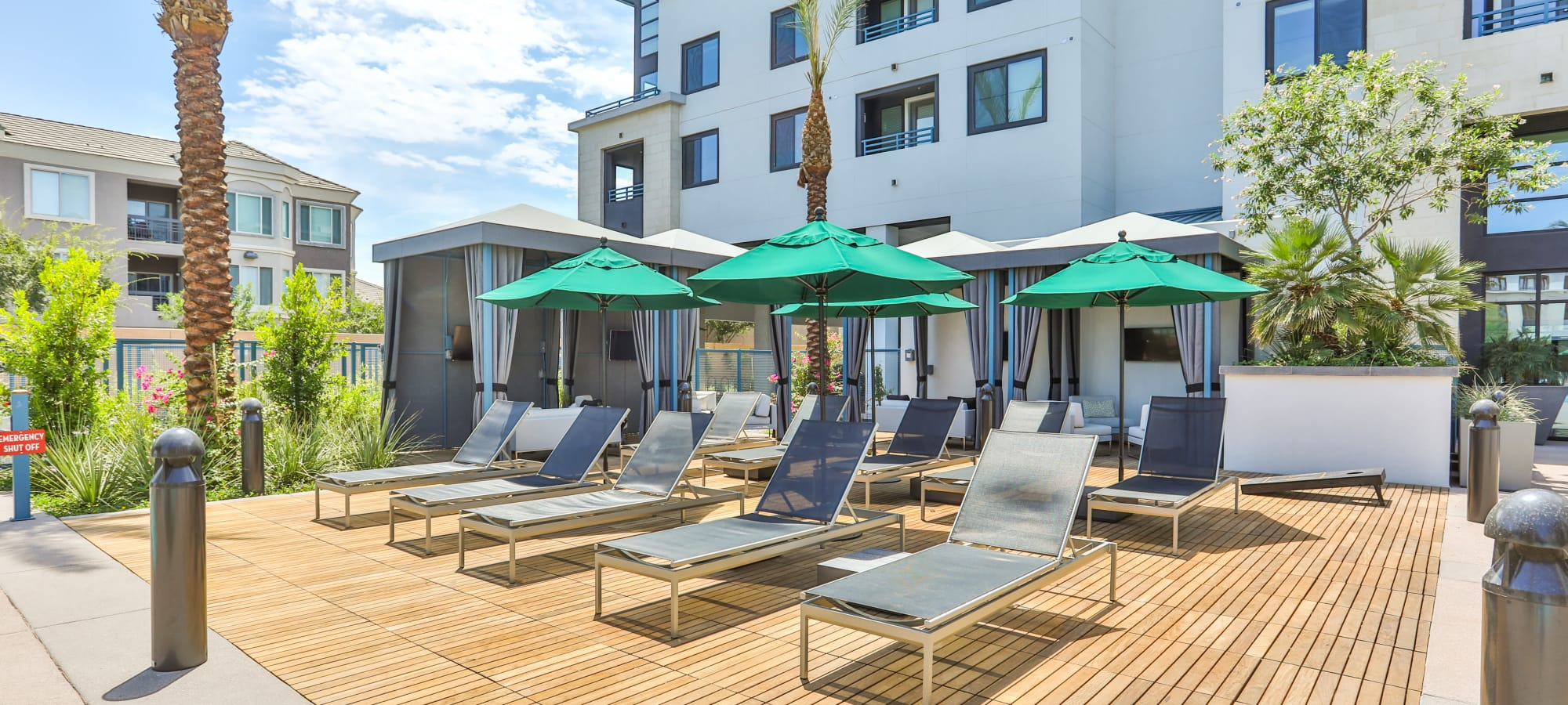 Comfortable lounge chairs with umbrellas at Lakeside Drive Apartments in Tempe, Arizona