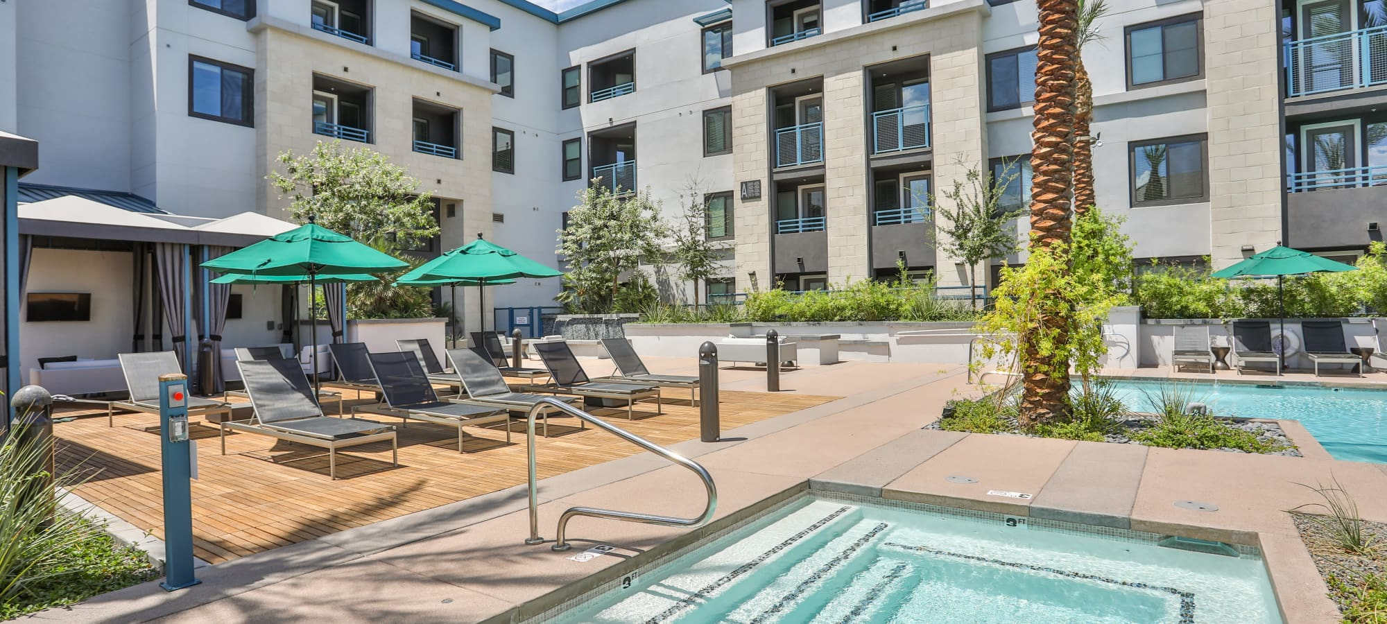 Relaxing outdoor hot tub at Lakeside Drive Apartments in Tempe, Arizona