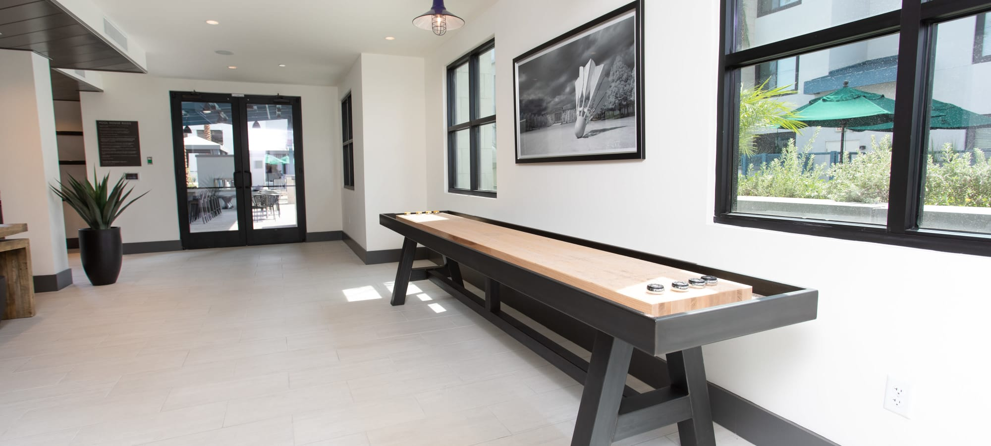 Brand new shuffleboard table at Lakeside Drive Apartments in Tempe, Arizona