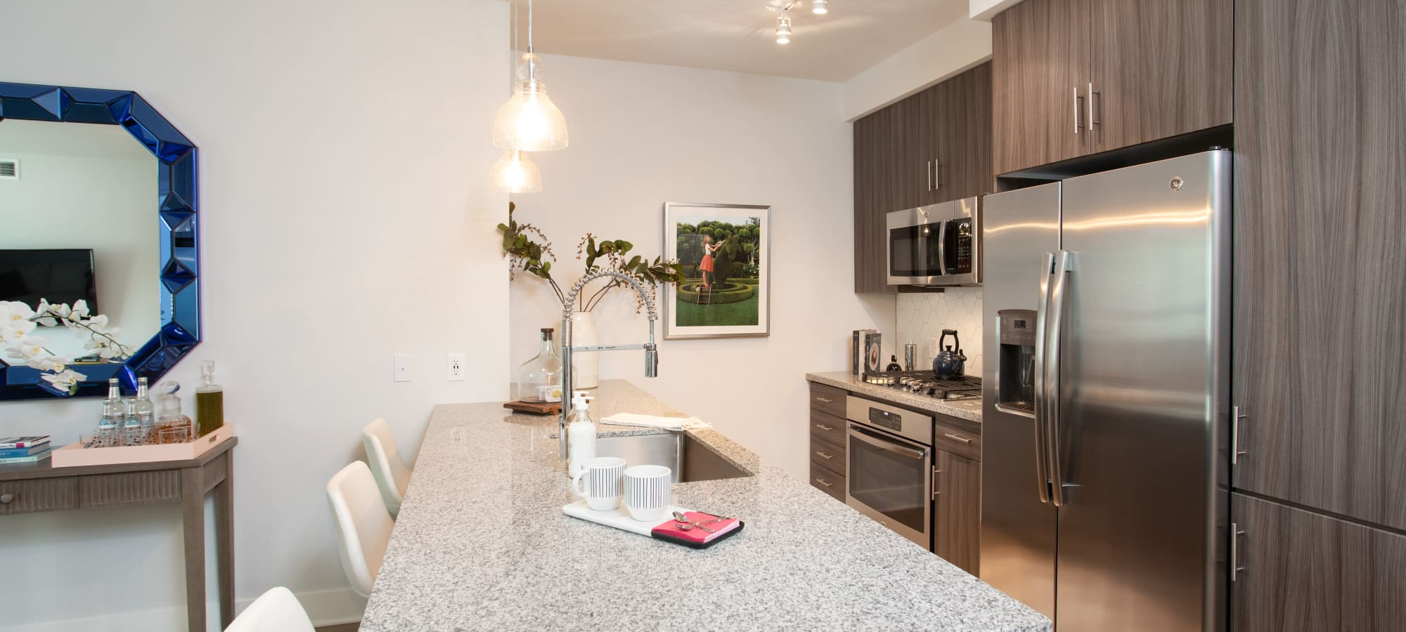 Spacious kitchen with a breakfast bar at Lakeside Drive Apartments in Tempe, Arizona