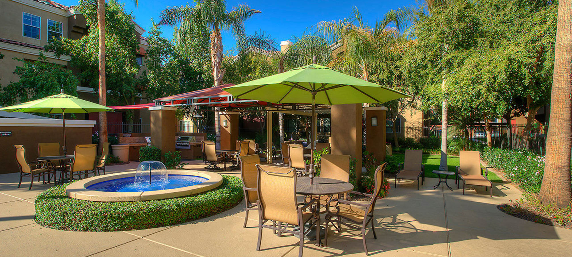 Gorgeous outdoor patio seating by the swimming pool at Park on Bell in Phoenix, Arizona