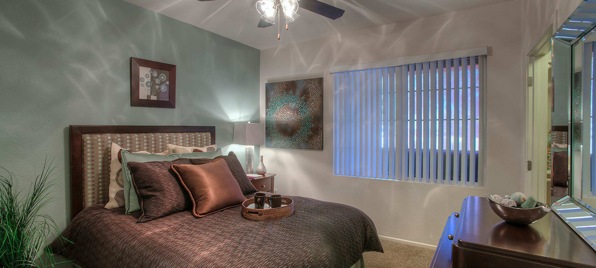 Contemporary decorated master bedroom at Park on Bell in Phoenix, Arizona