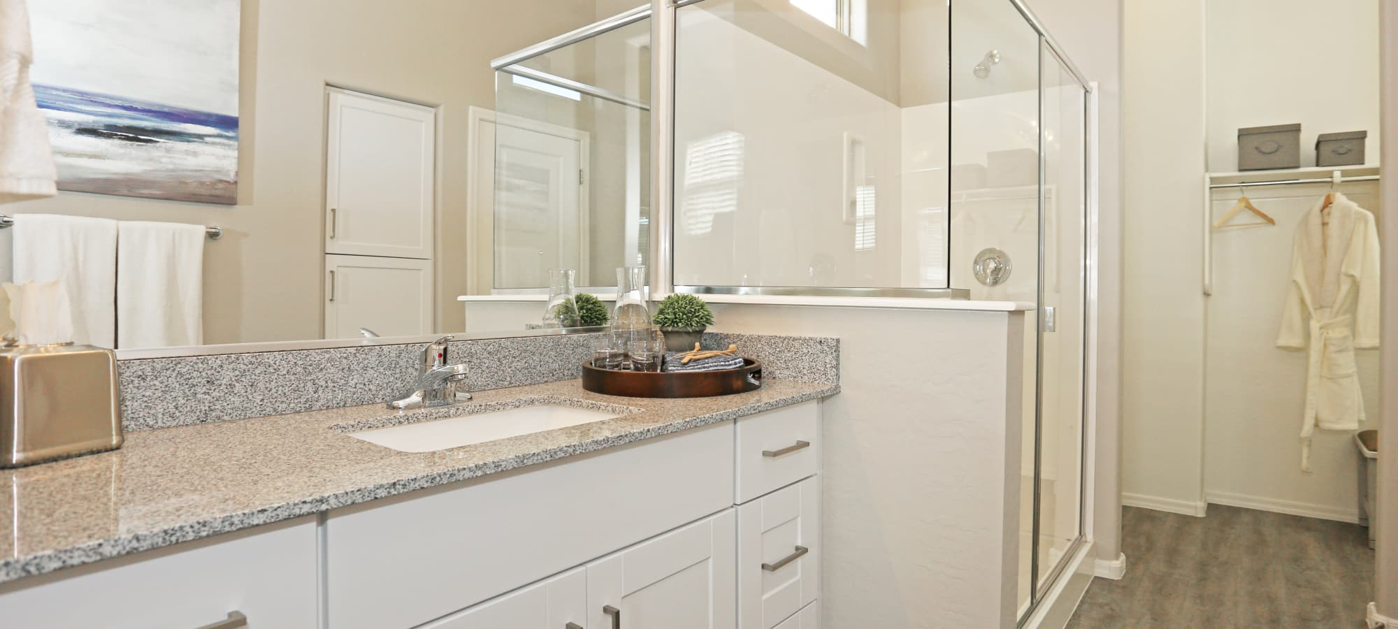 Granite countertop in bathroom of model home at Christopher Todd Communities At Stadium in Glendale, Arizona