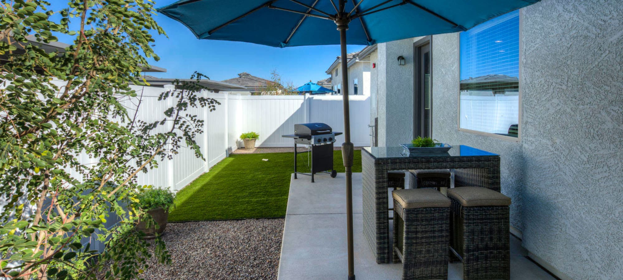 Private patio outside model home at Christopher Todd Communities At Marley Park in Surprise, Arizona