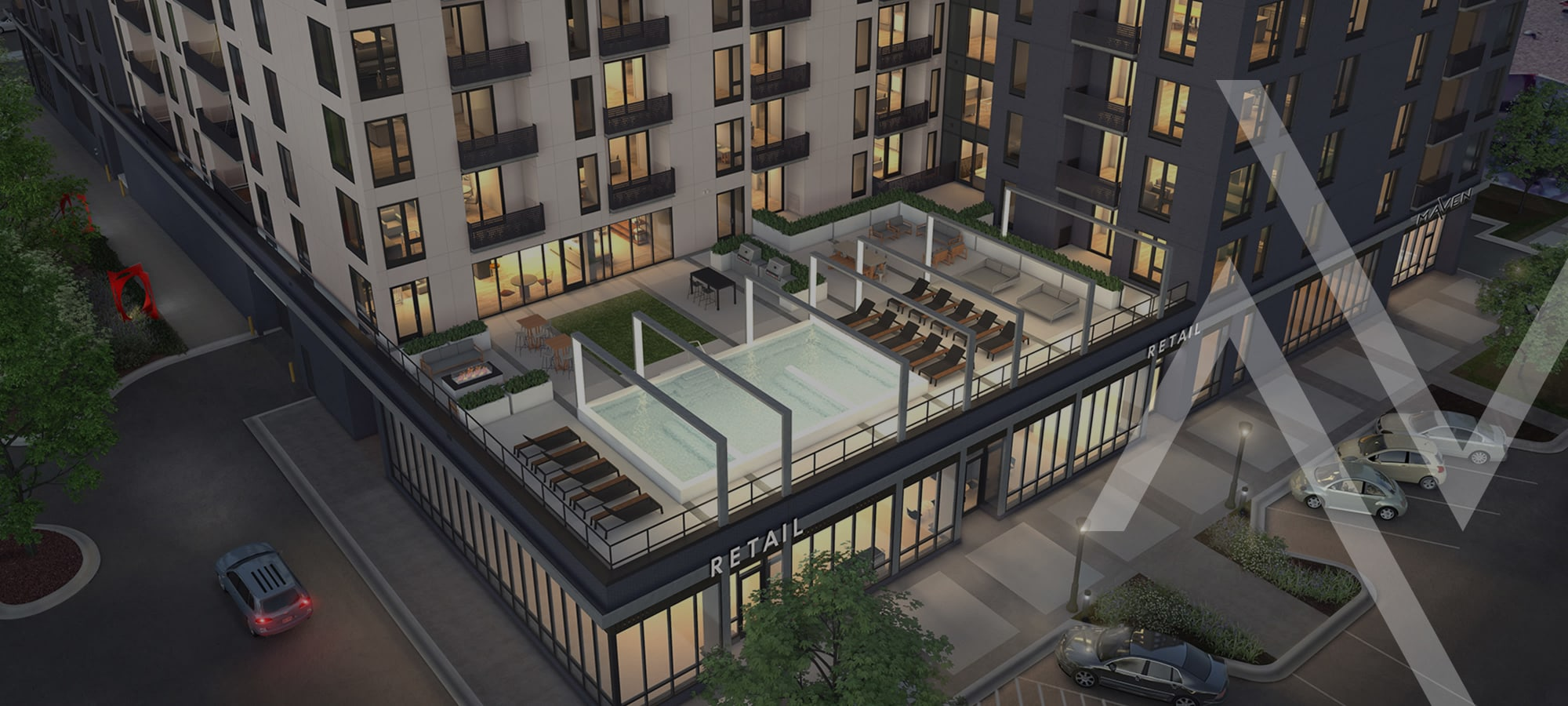 The Maven on Broadway luxury apartments in Rochester, Minnesota