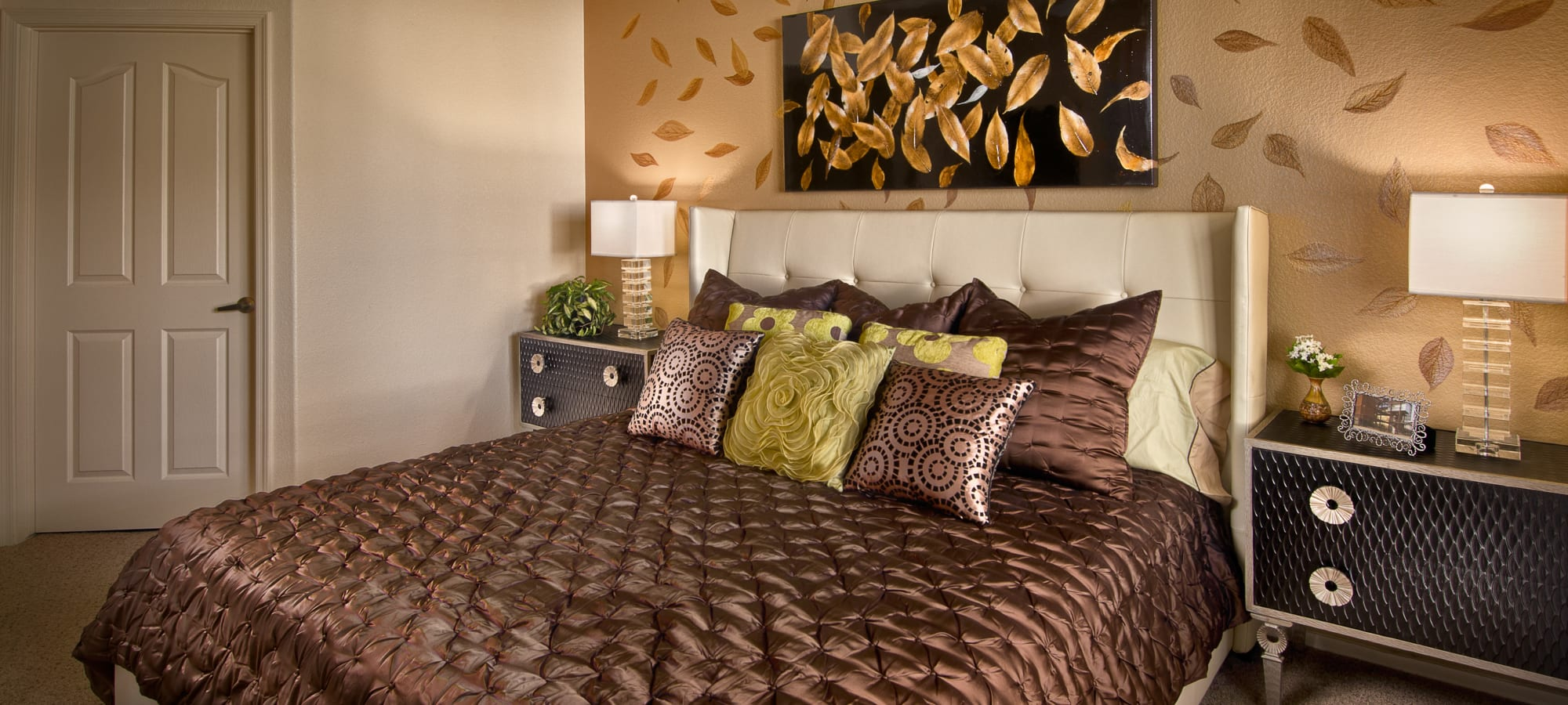 Luxuriously decorated master bedroom in a model home at San Palmilla in Tempe, Arizona