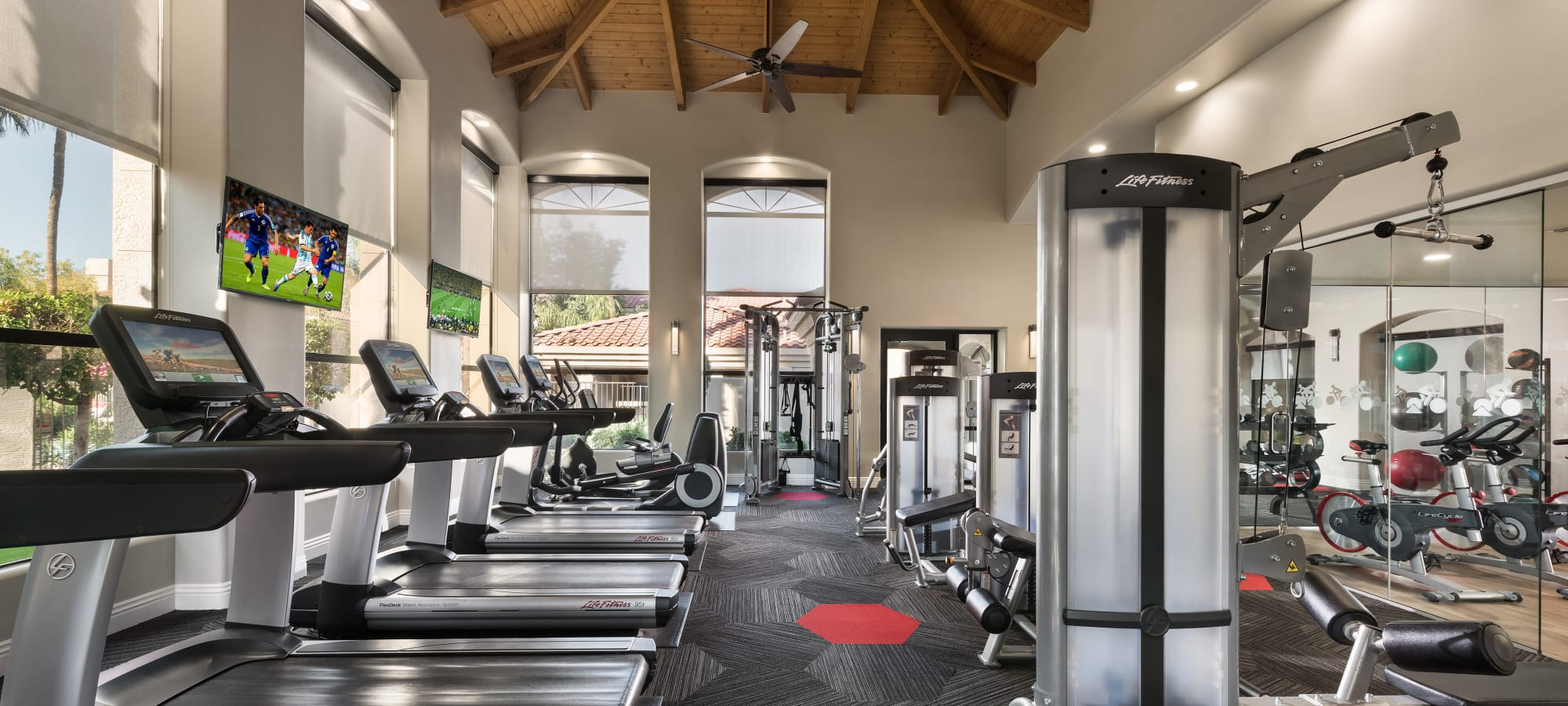 Well-equipped fitness center at San Palmilla in Tempe, Arizona