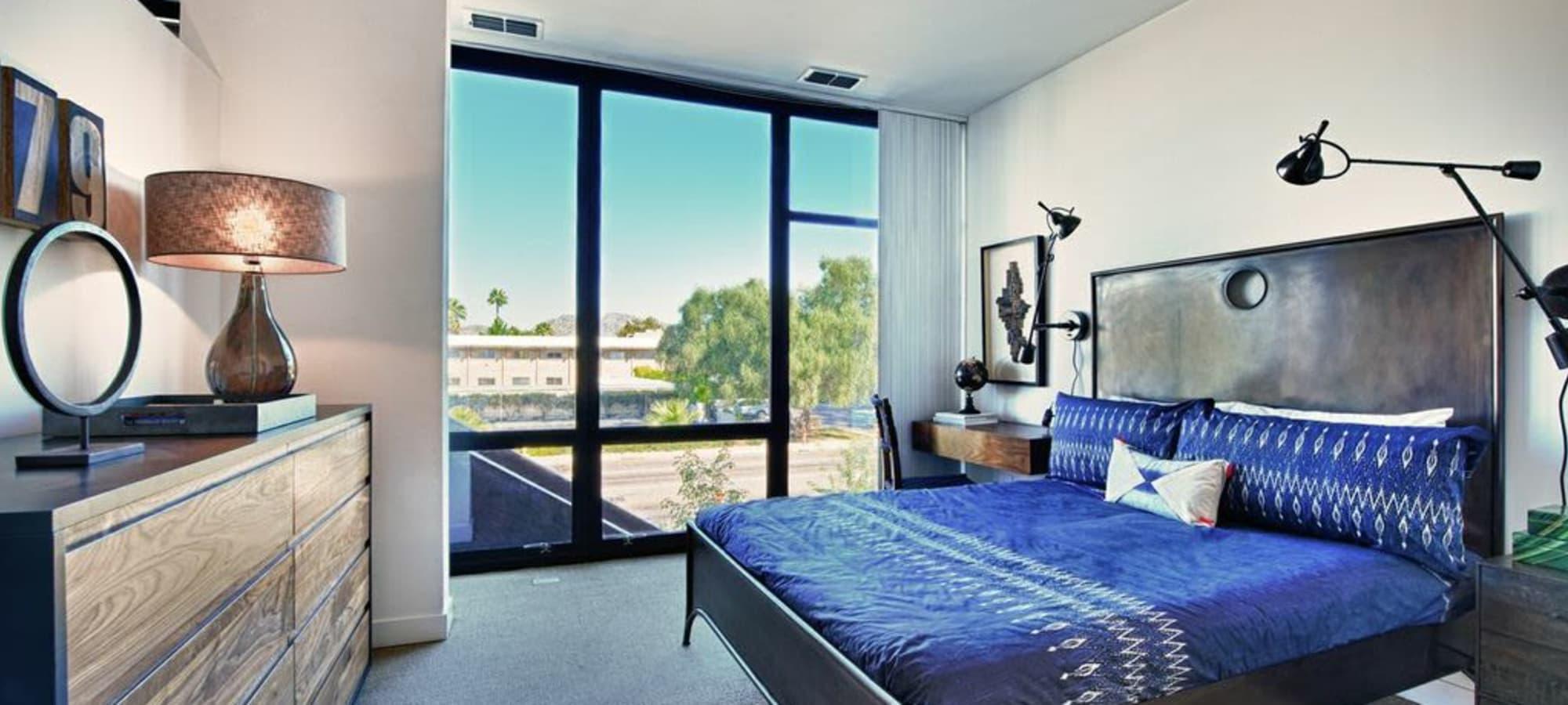 Luxury bedroom at apartments in Phoenix, Arizona